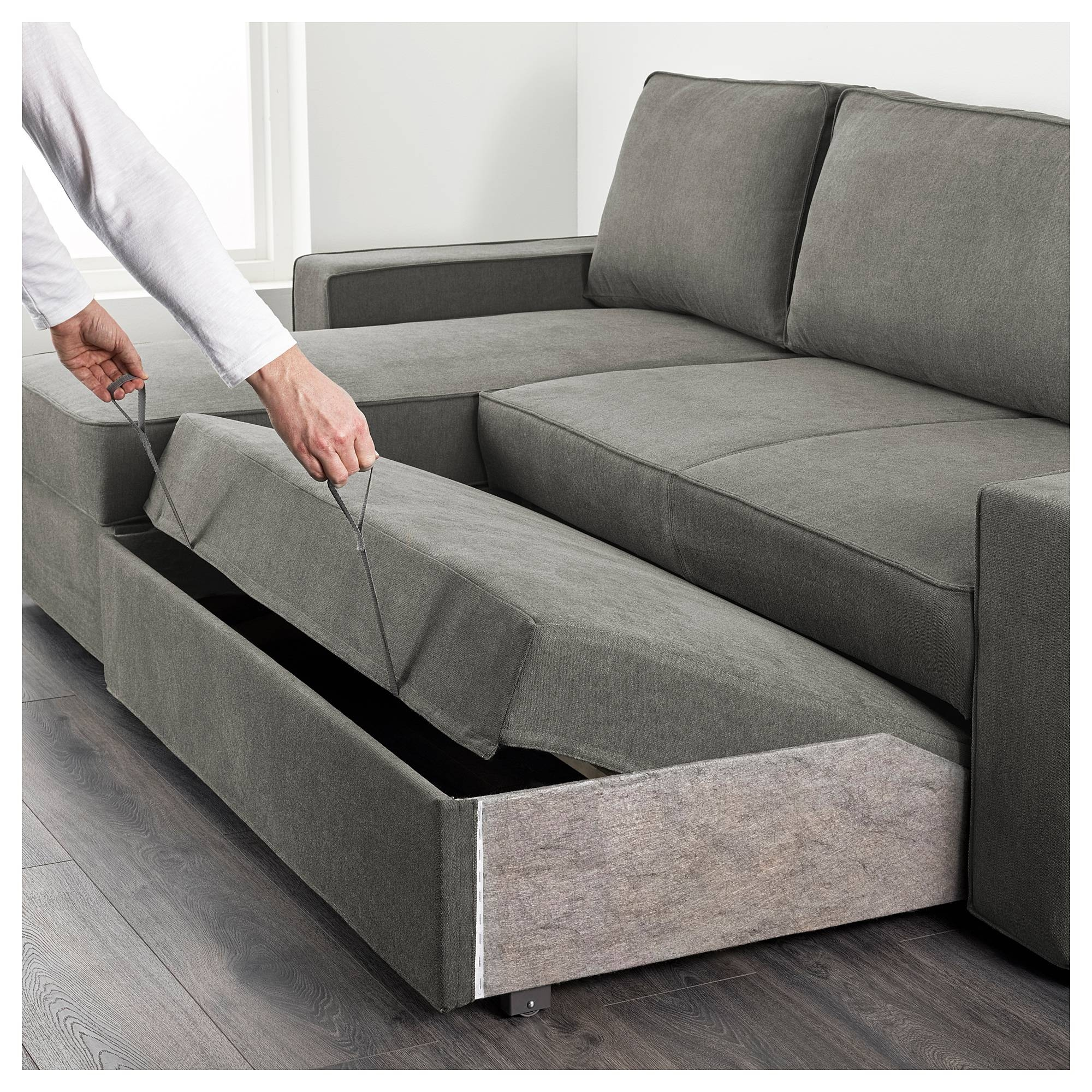 Vilasund Sofa Bed With Chaise Longue Borred Grey-Green - Ikea with Sofa Beds With Chaise Lounge (Image 15 of 15)