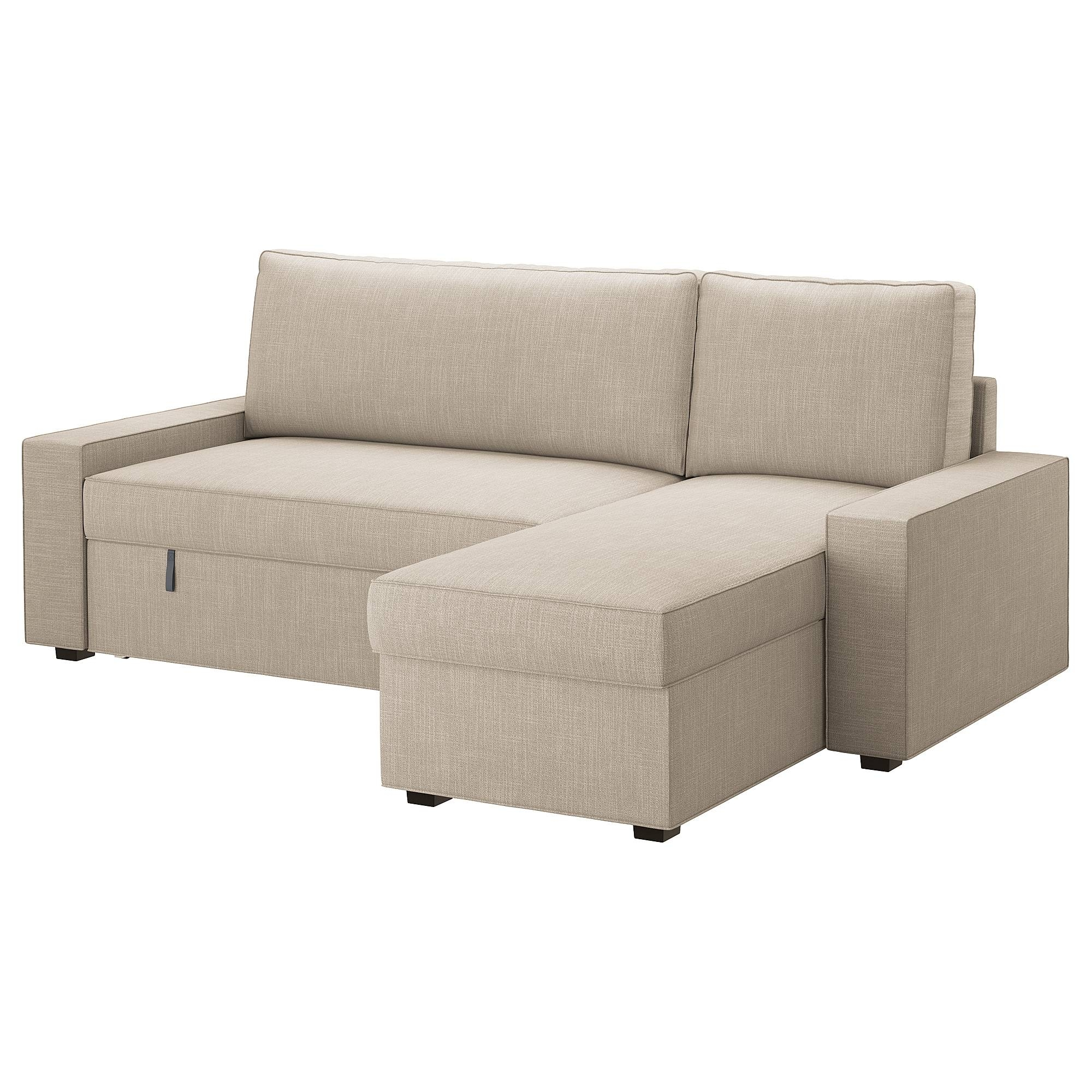 Vilasund Sofa Bed With Chaise Longue Hillared Beige - Ikea in Chaise Longue Sofa Beds (Image 15 of 15)