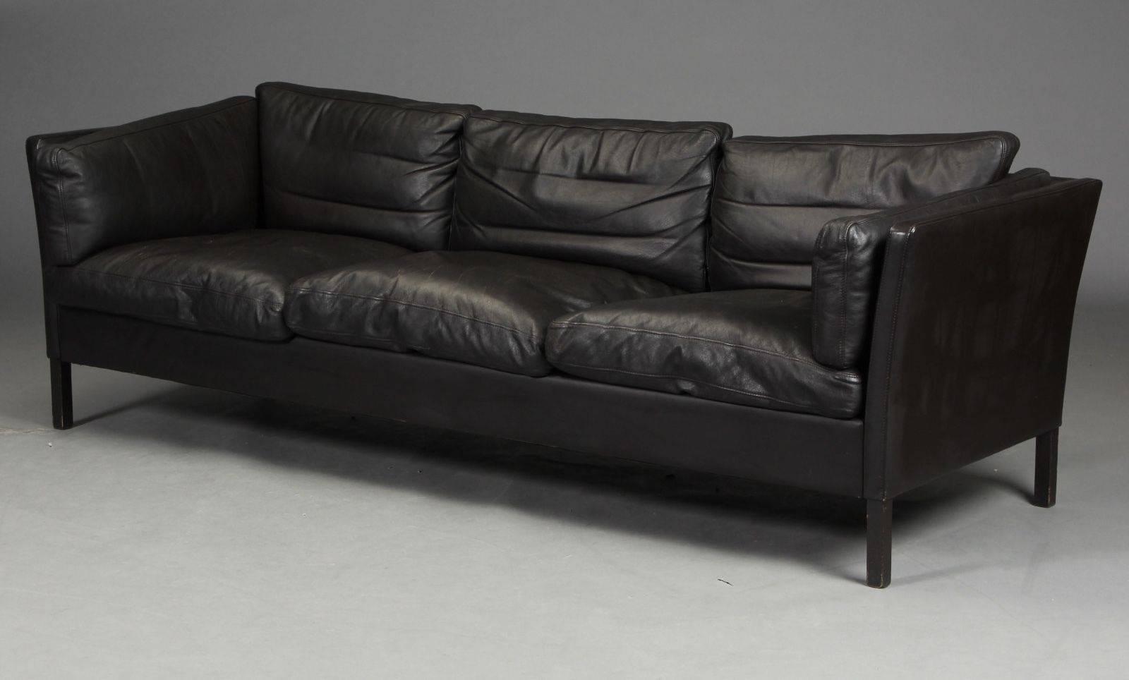 Vintage Danish Borge Mogensen Style 3 Seater Leather Sofa 70S throughout Danish Leather Sofas (Image 14 of 15)
