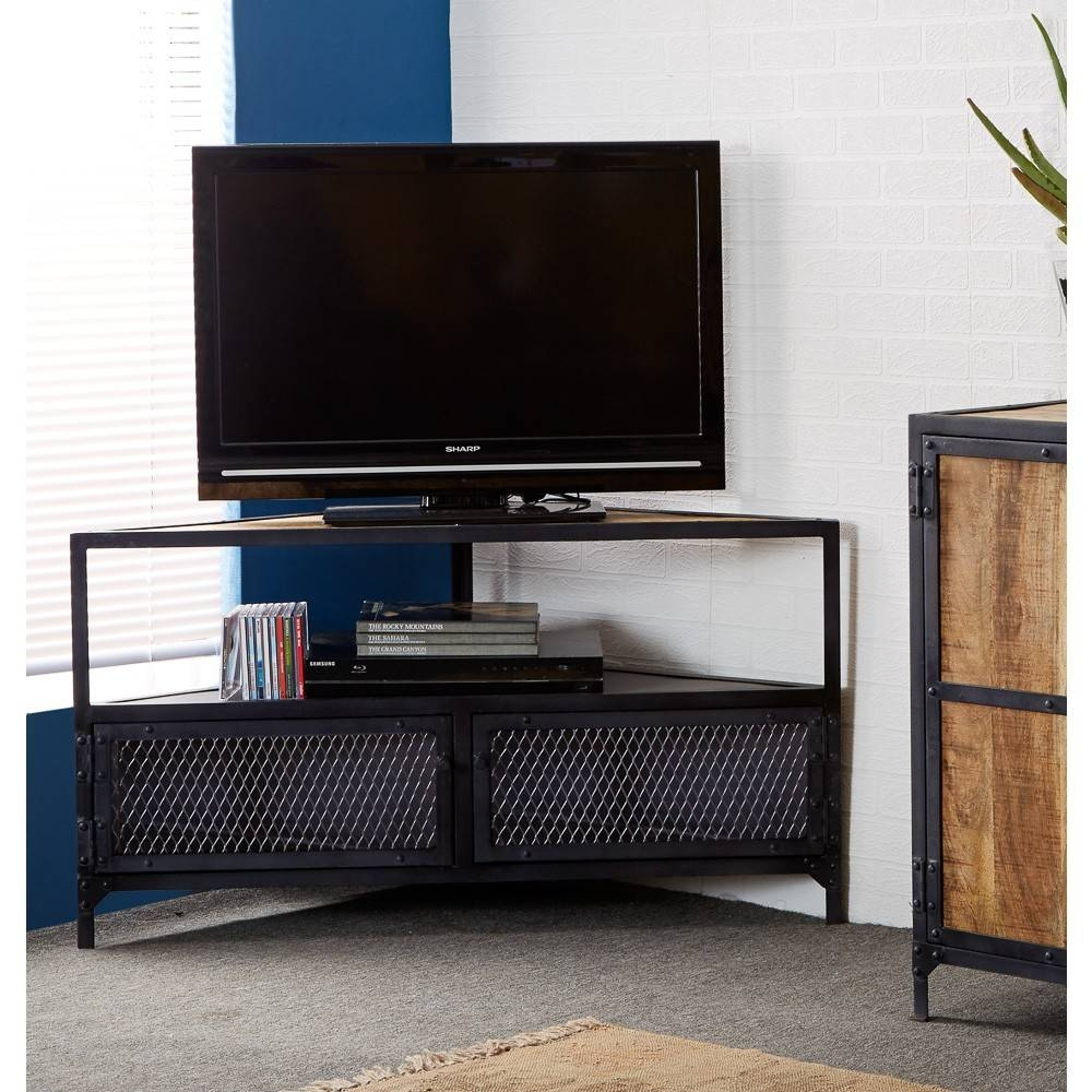 Vintage Industrial Metal And Wood Tv Stand Console Table pertaining to Industrial Corner Tv Stands (Image 15 of 15)