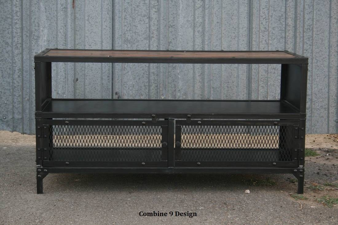 Vintage Industrial Tv Stand. Reclaimed Wood & Steel. Mid intended for Industrial Metal Tv Stands (Image 14 of 15)