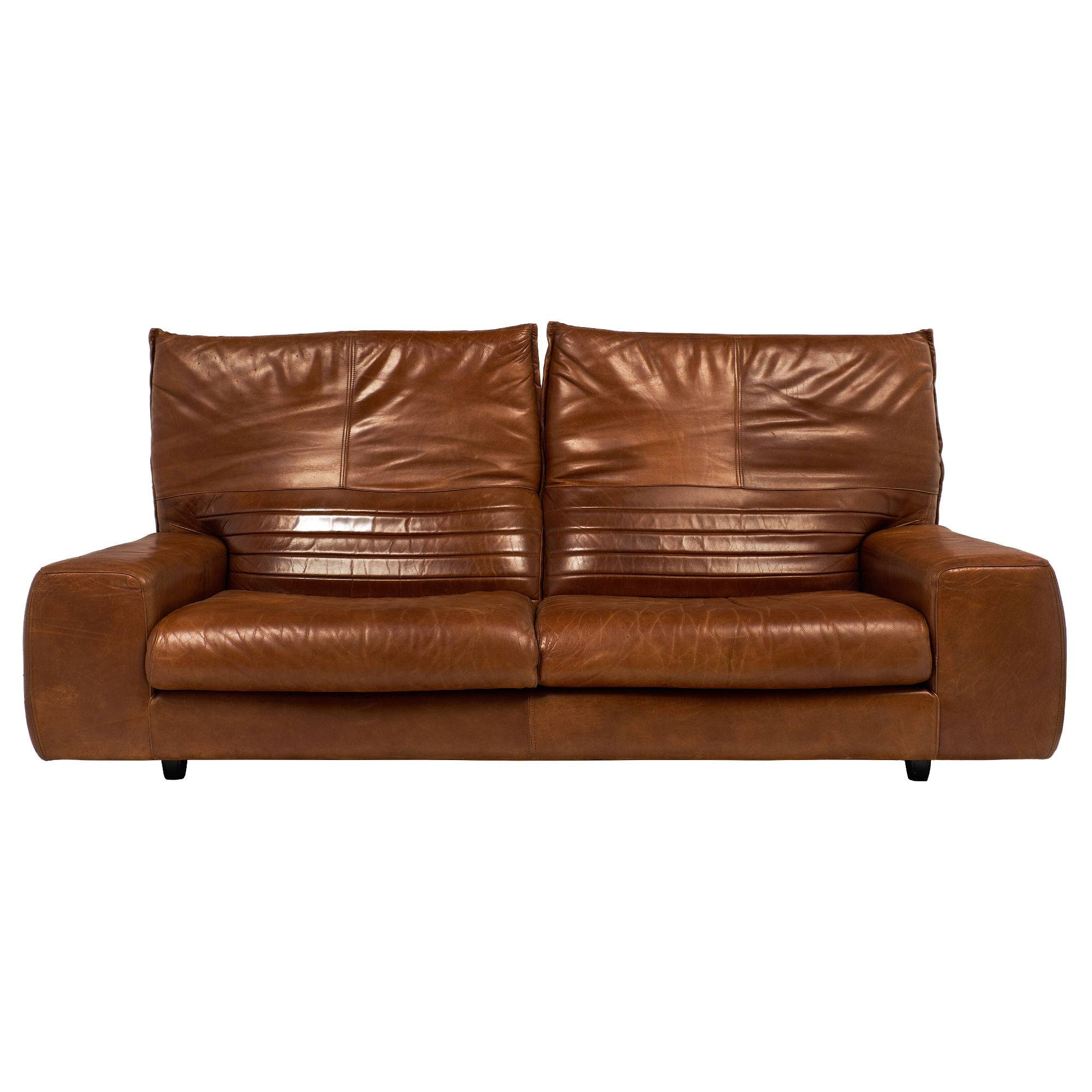 Vintage Italian Leather Sofa With Foldable Back - Jean Marc Fray with regard to Italian Leather Sofas (Image 15 of 15)