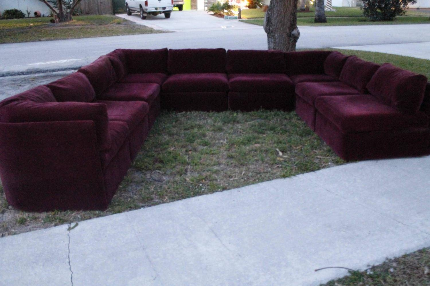 Vintage Milo Baughman Thayer Coggin 9 Piece Sectional Sofa within Burgundy Sectional Sofas (Image 15 of 15)