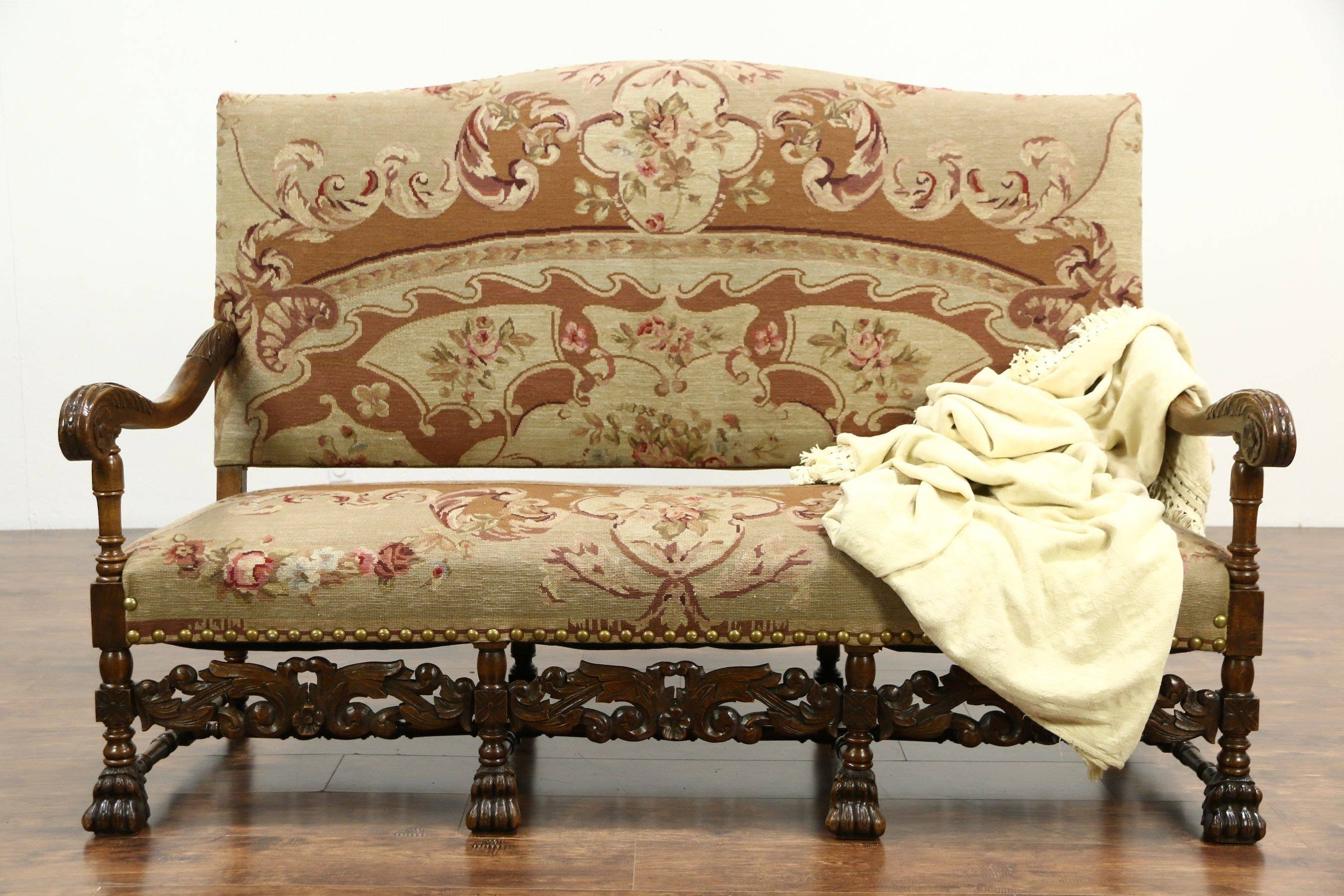 Vintage Settee Loveseat Bench Antique Tufted Image On Mesmerizing for Bench Cushion Sofas (Image 15 of 15)