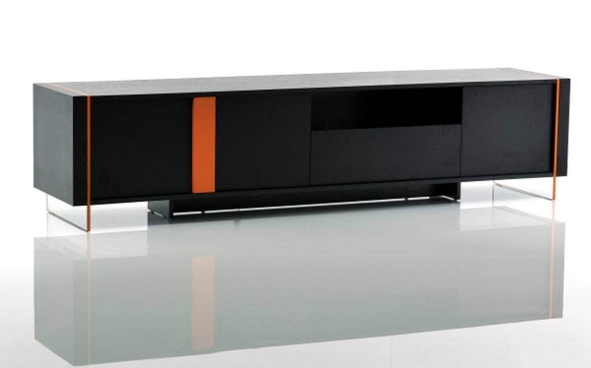 Vision - Modern Black Oak Floating Tv Stand with Orange Tv Stands (Image 14 of 15)