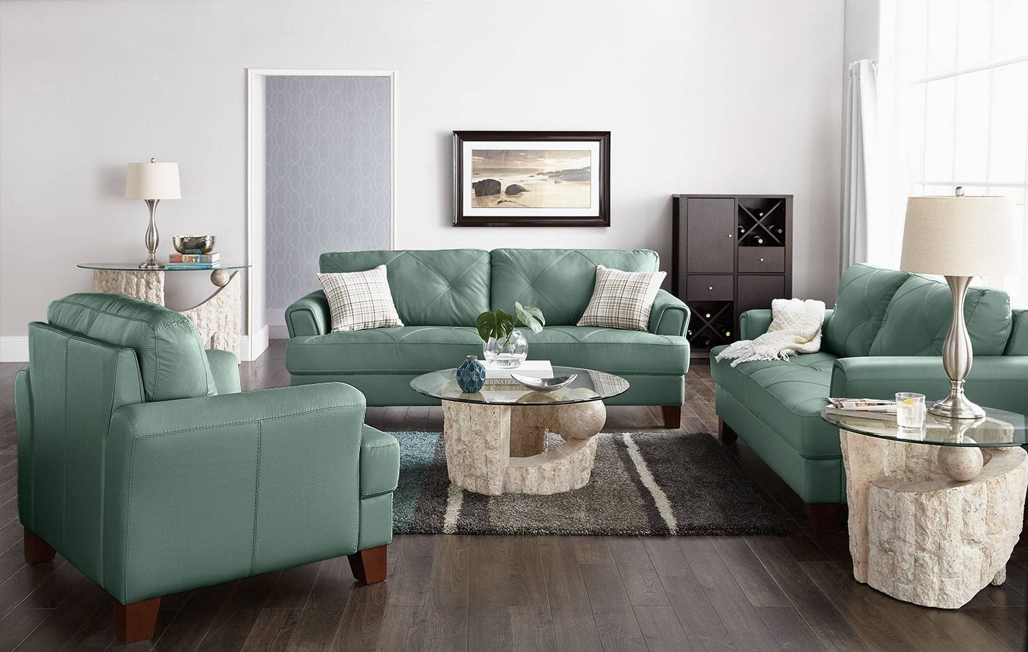 Vita 100% Genuine Leather Sofa – Sea Foam | The Brick within Seafoam Green Sofas (Image 15 of 15)