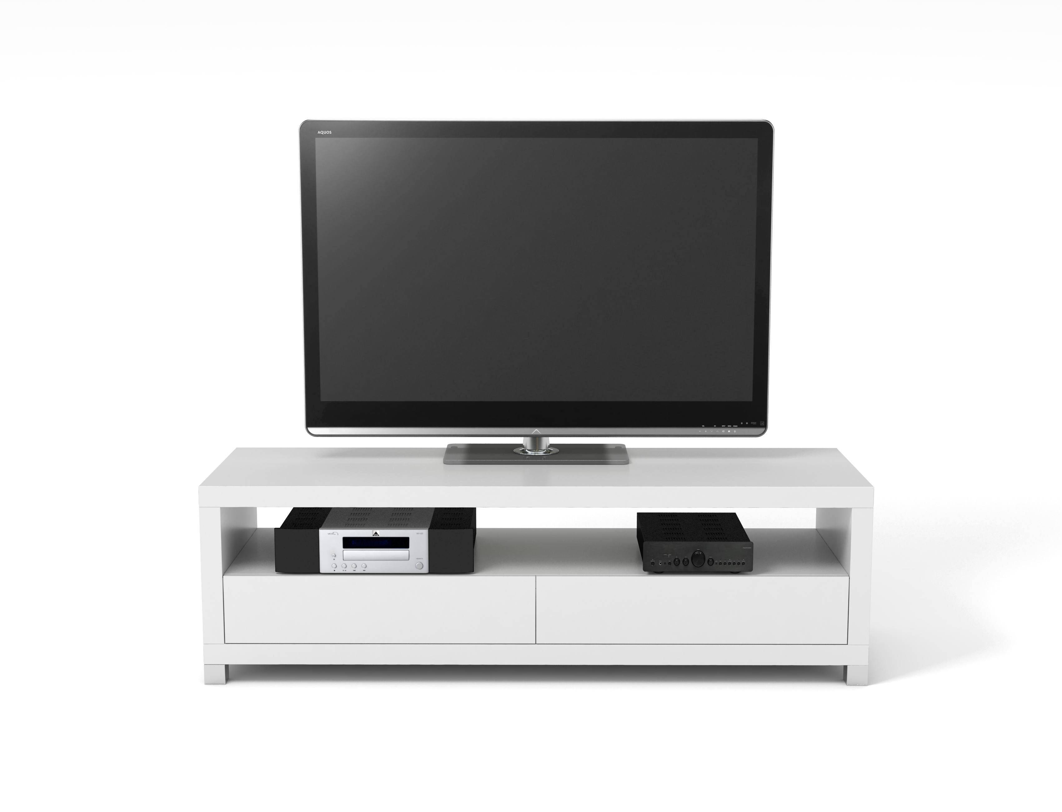 Vivanco D1200Gb 120Cm Designer Tv Stand White | Hbh Woolacotts Inside Sonos Tv Stands (View 15 of 15)