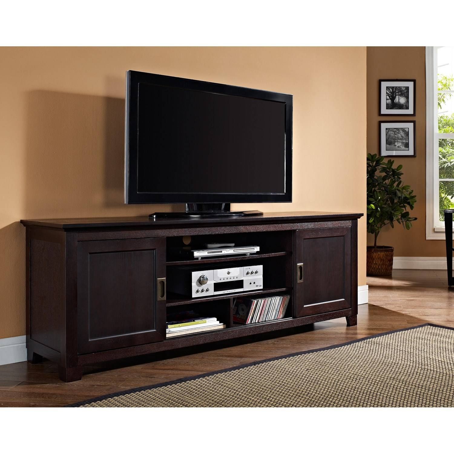 "Walker Edison 70"" Wide Espresso Wood Tv Stand Console With Sliding for Expresso Tv Stands (Image 14 of 15)"