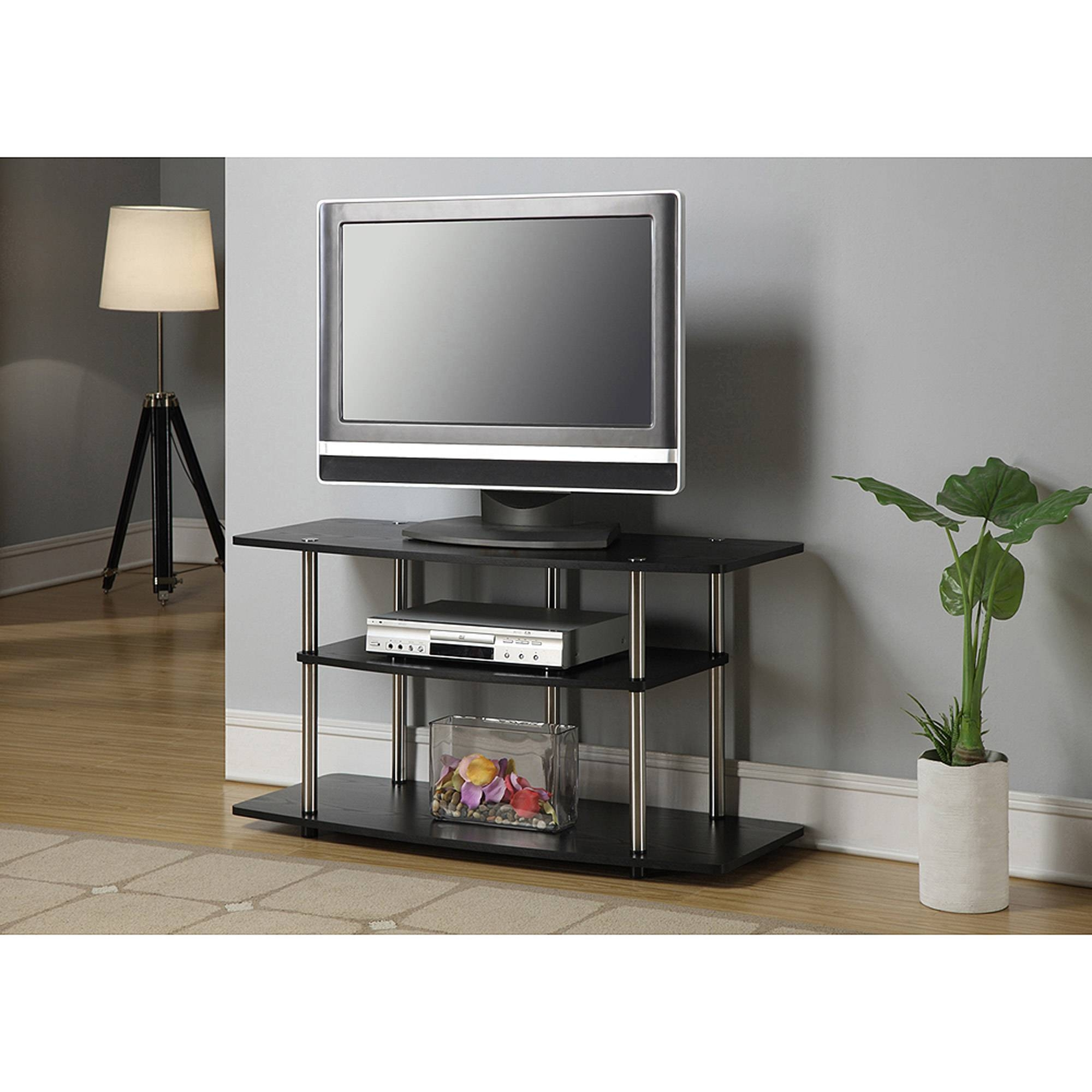 "Walker Edison Black Tv Stand For Tvs Up To 48"" - Walmart throughout Wide Screen Tv Stands (Image 15 of 15)"