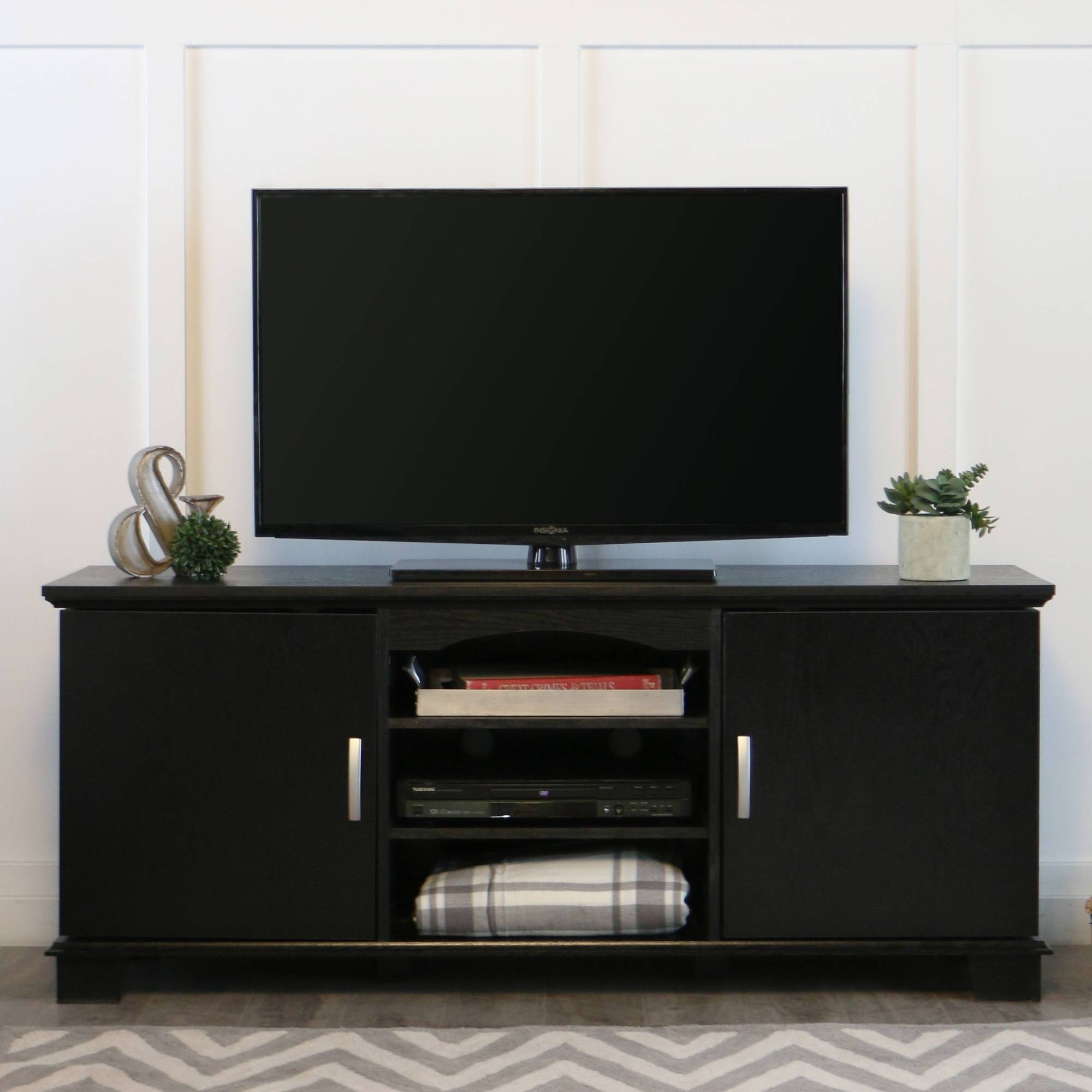 "Walker Edison Black Tv Stand For Tvs Up To 65"", Multiple Colors with regard to Black Tv Cabinets With Drawers (Image 14 of 15)"