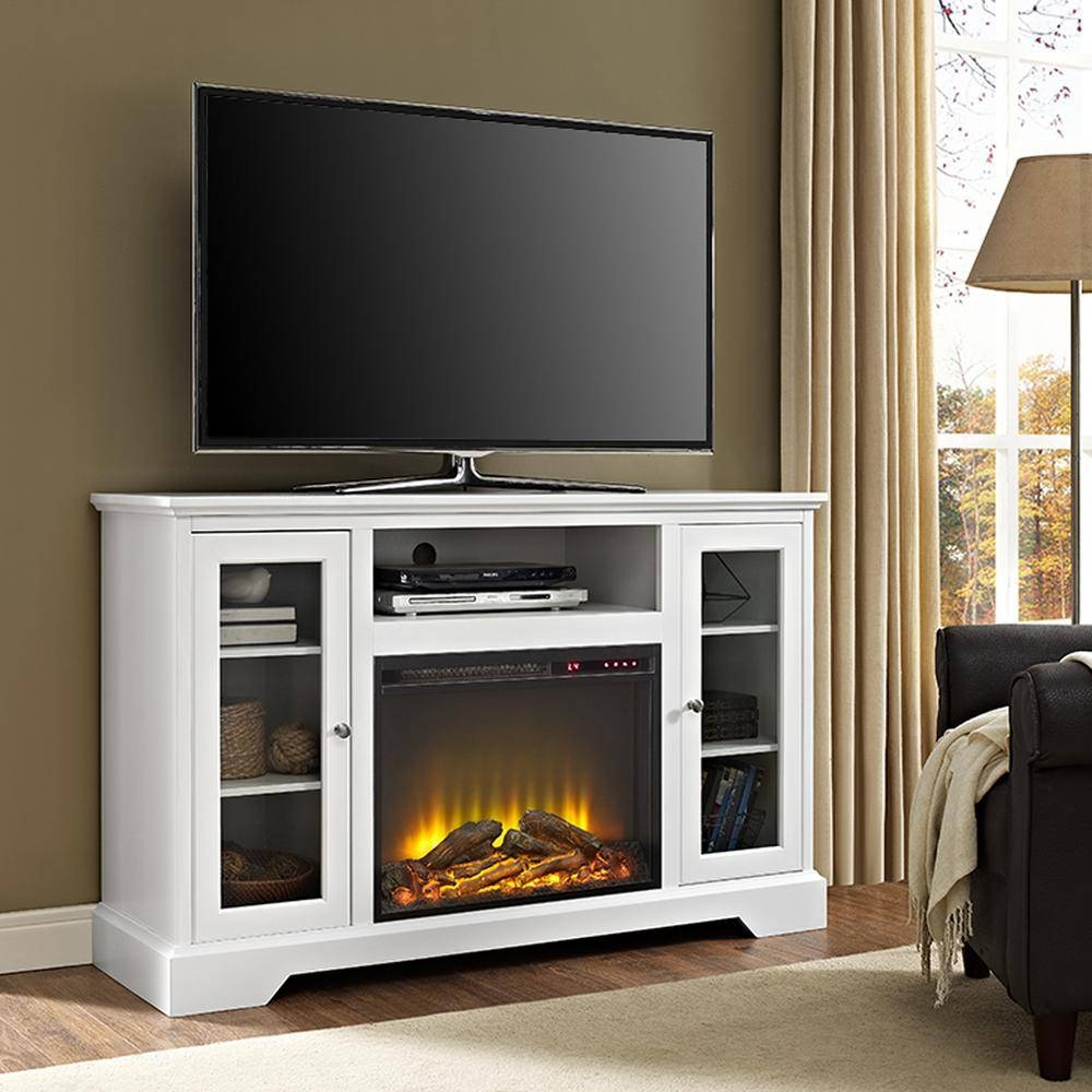 Walker Edison Furniture Company 52 In. Highboy Fireplace Wood Tv within White And Wood Tv Stands (Image 8 of 15)