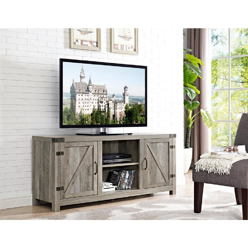 Walker Edison Furniture Company 58 In. Barn Door Tv Stand With for Grey Tv Stands (Image 14 of 15)