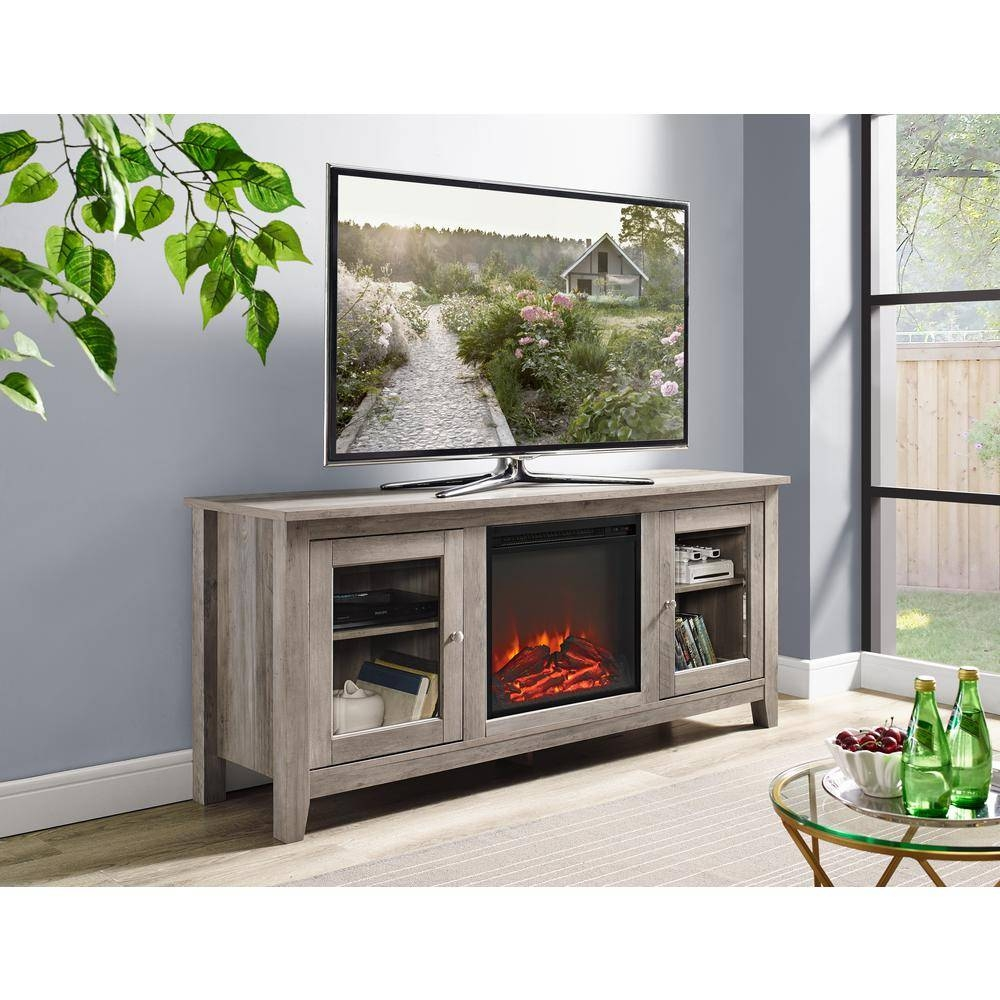 Walker Edison Furniture Company 58 In. Wood Media Tv Stand Console pertaining to Grey Wood Tv Stands (Image 14 of 15)
