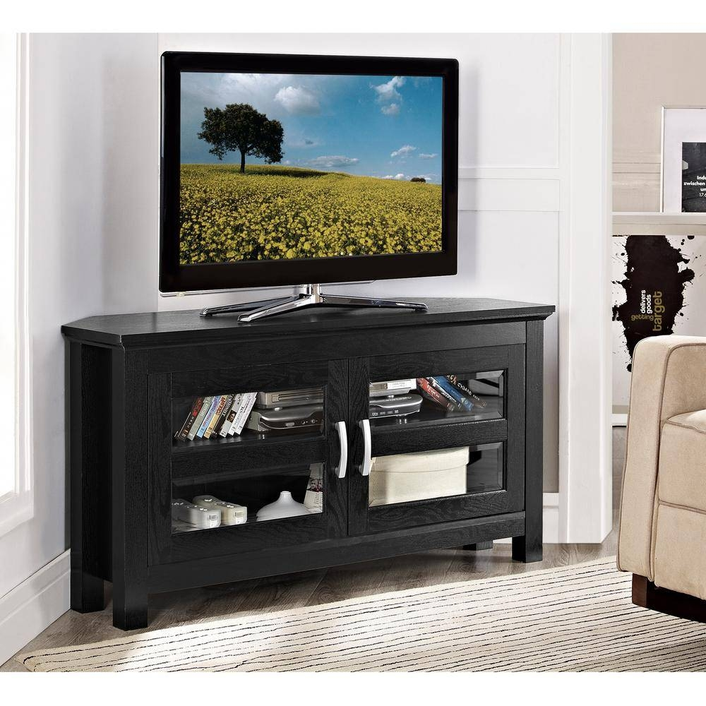 Walker Edison Furniture Company Cordoba Black Entertainment Center throughout Cordoba Tv Stands (Image 14 of 15)