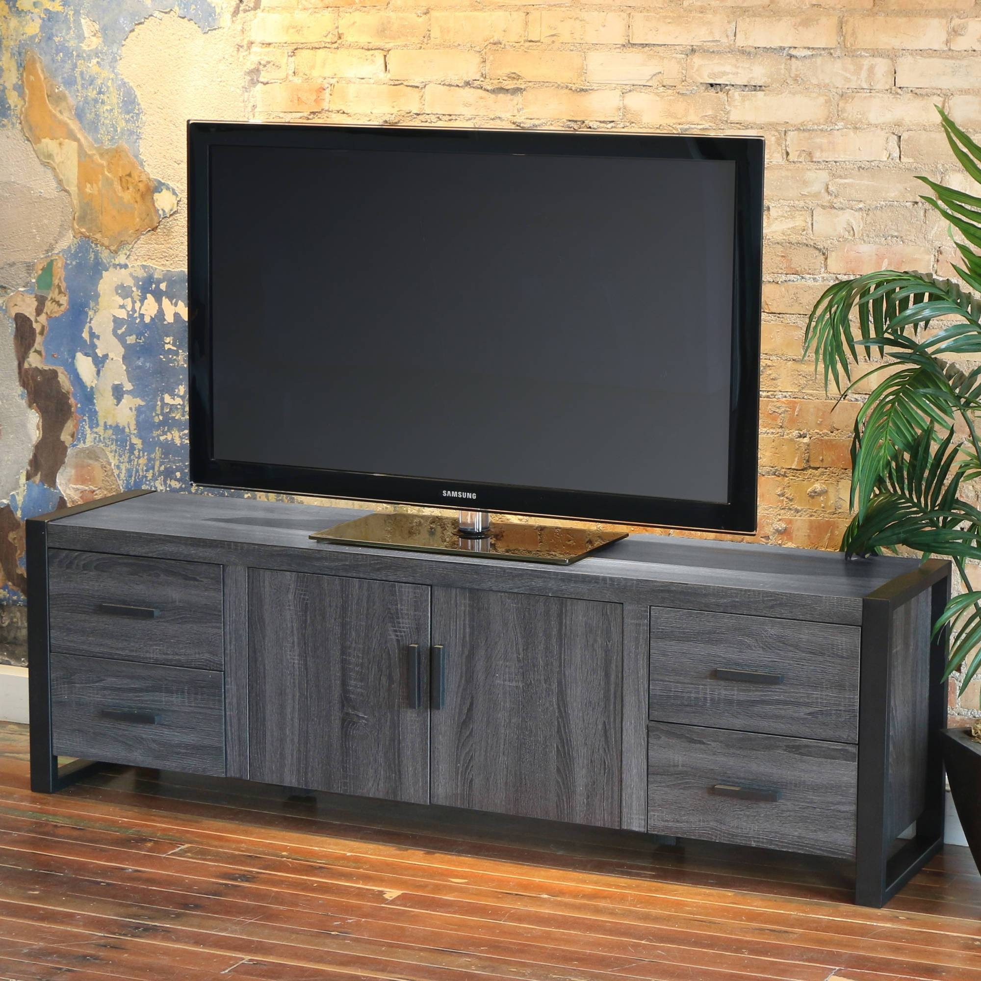 "Walker Edison Reclaimed Wood Tv Stand For Tvs Up To 70"", Multiple for Grey Wood Tv Stands (Image 14 of 15)"