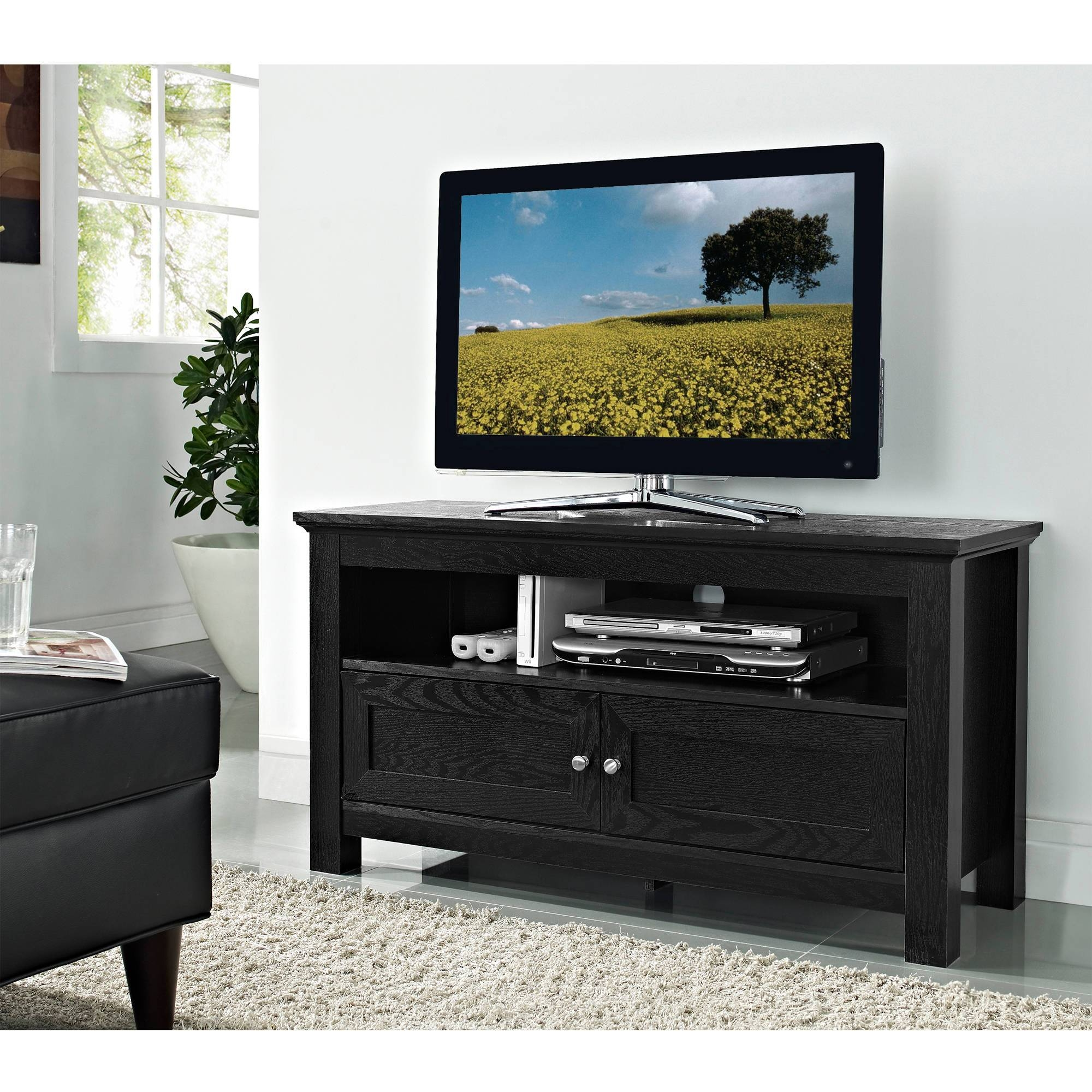 "Walker Edison Tv Stand For Tvs Up To 48"", Multiple Colors with regard to Tall Black Tv Cabinets (Image 15 of 15)"