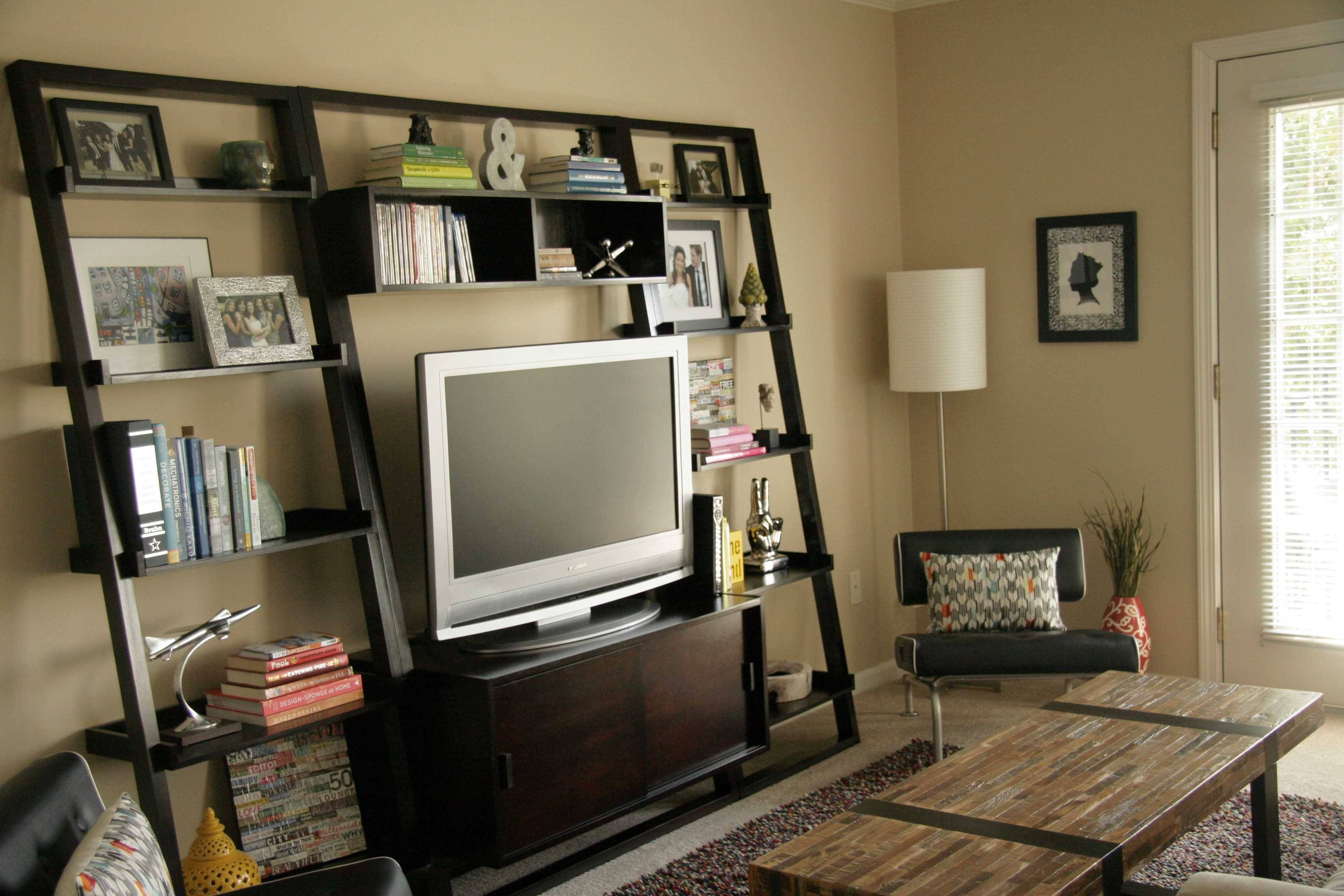 Wall Units. Glamorous Bookcase With Tv Shelf: Bookcase-With-Tv throughout Tv Stands and Bookshelf (Image 12 of 15)