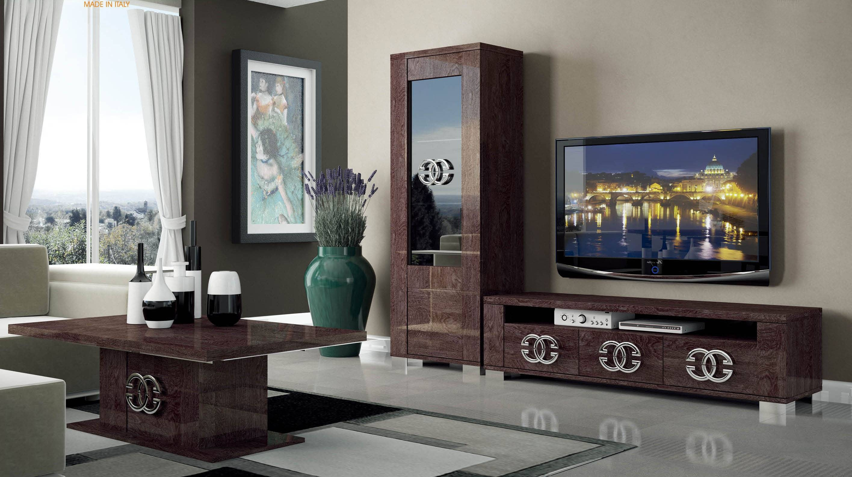 Walnut Brown Tv Stand With Side Vitrine Shelves Hialeah Florida Regarding Wall Display Units And Tv Cabinets (View 5 of 15)