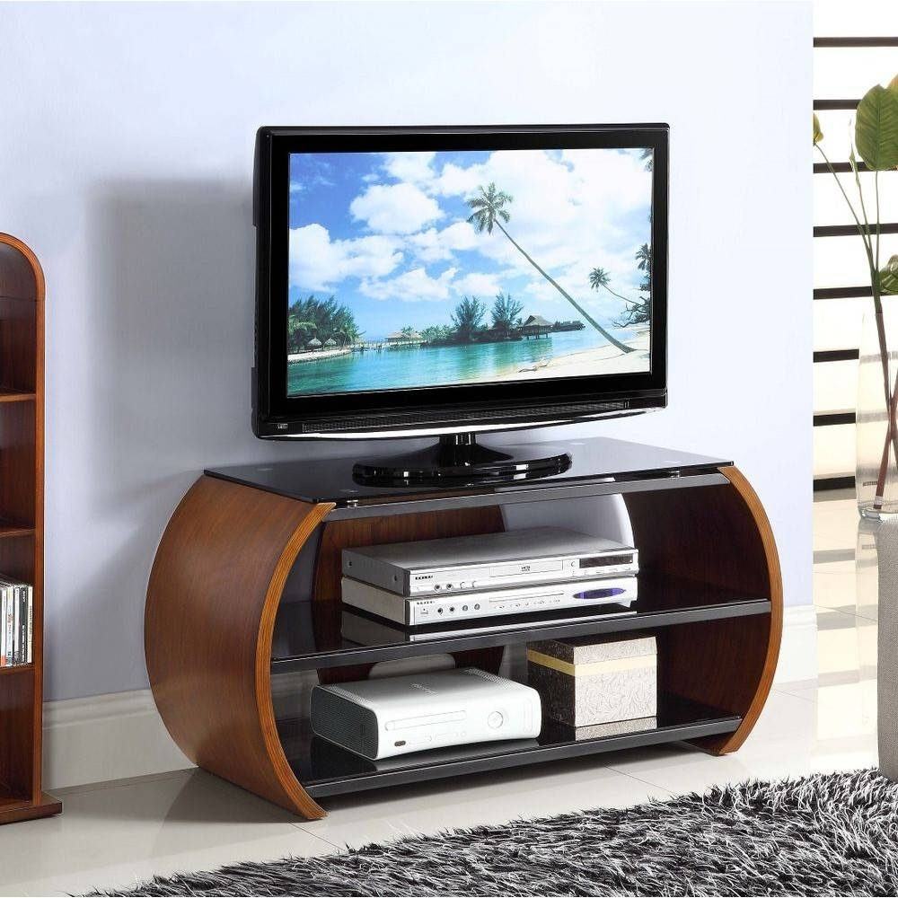 Walnut Dark Wooden Curved Tv Stand Modern Storage Glass inside Curve Tv Stands (Image 14 of 15)