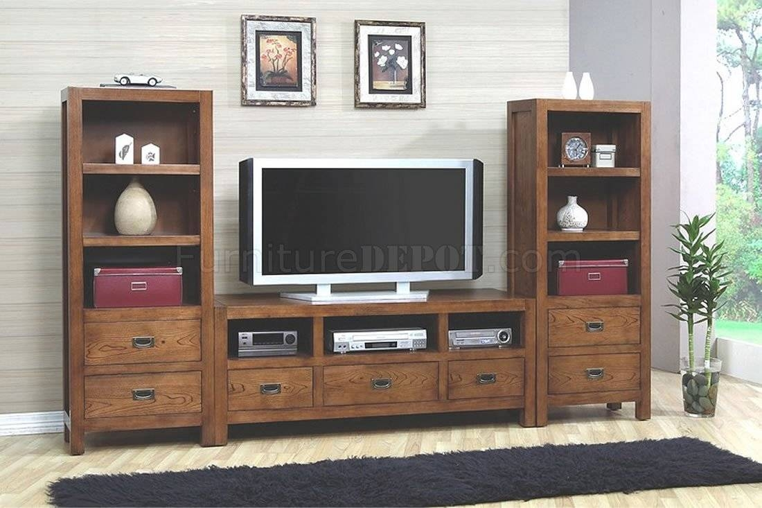 Walnut Finish Stylish Tv Stand W/optional Media Towers Throughout Stylish Tv Stands (View 3 of 15)