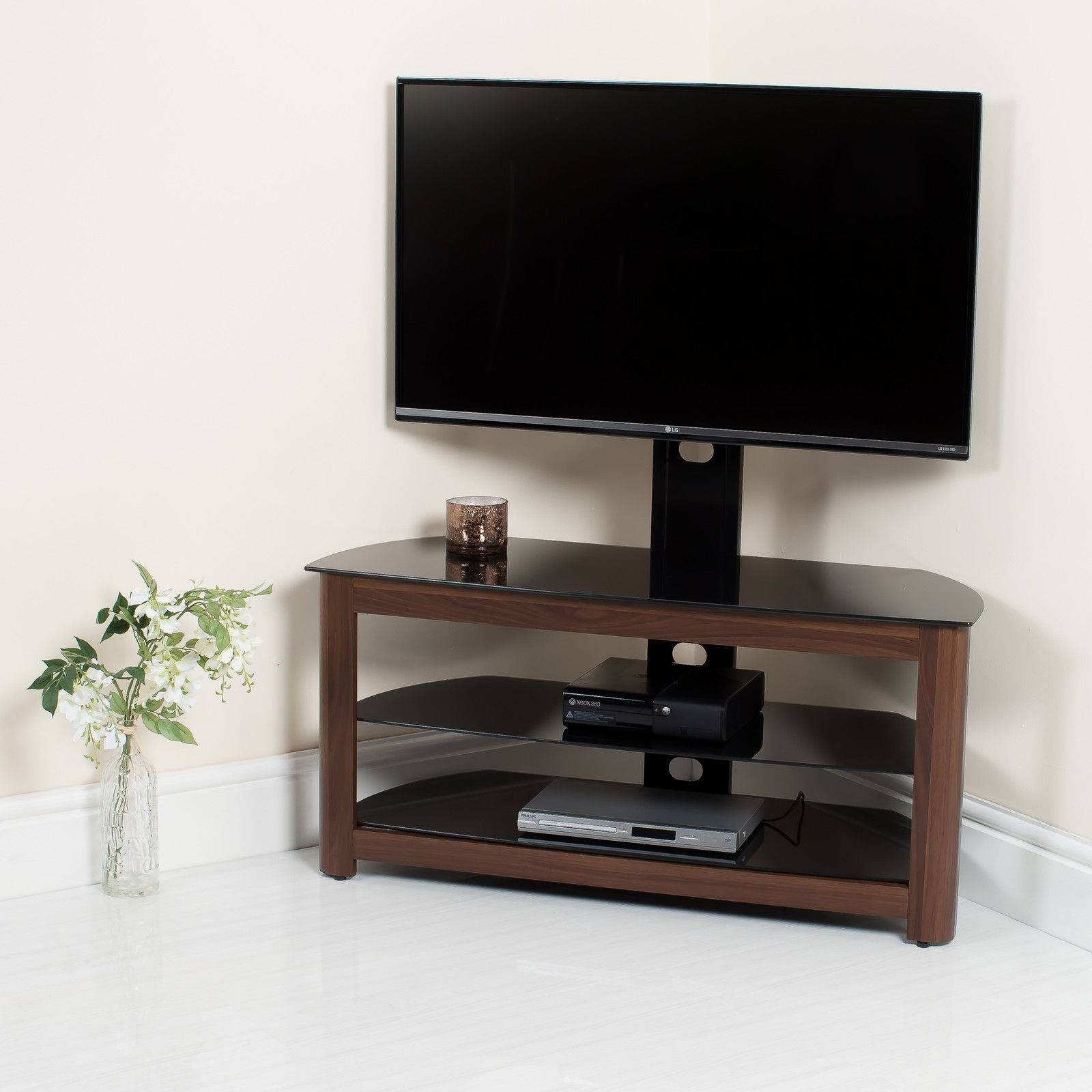 Walnut High Gloss Tv Stand With Swivel Bracket Abreo Home Furniture In Walnut Tv Stands (View 5 of 15)