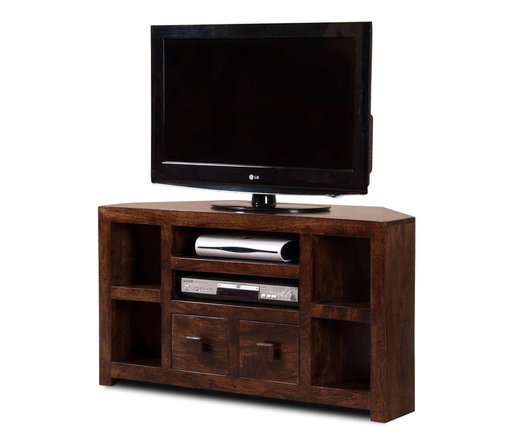 "Walnut Stained Indian Mango Wood Tv Stand | 42"" Corner Unit 