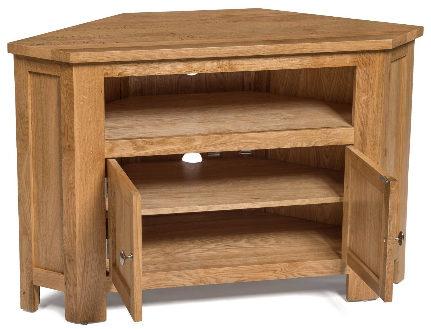 Waverly Oak 2 Door Corner Tv Stand Unit | Hallowood Pertaining To Light Oak Corner Tv Cabinets (View 14 of 15)