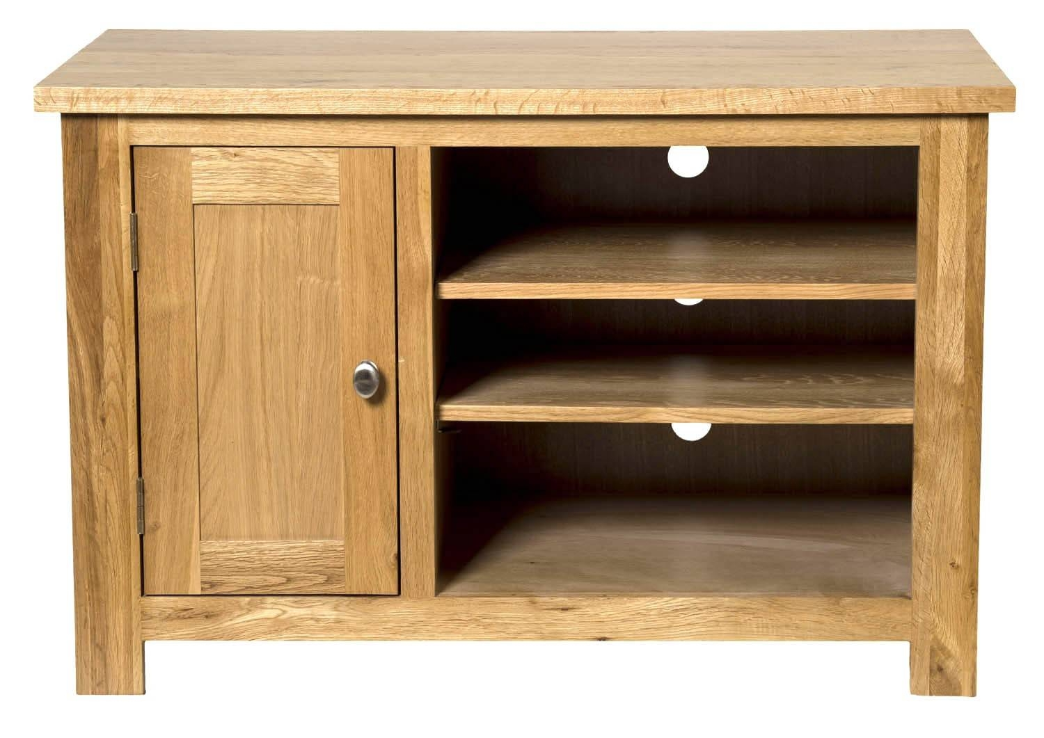 Waverly Oak Small Compact Tv Stand With Cabinet Storage | Hallowood intended for Light Oak Tv Cabinets (Image 14 of 15)