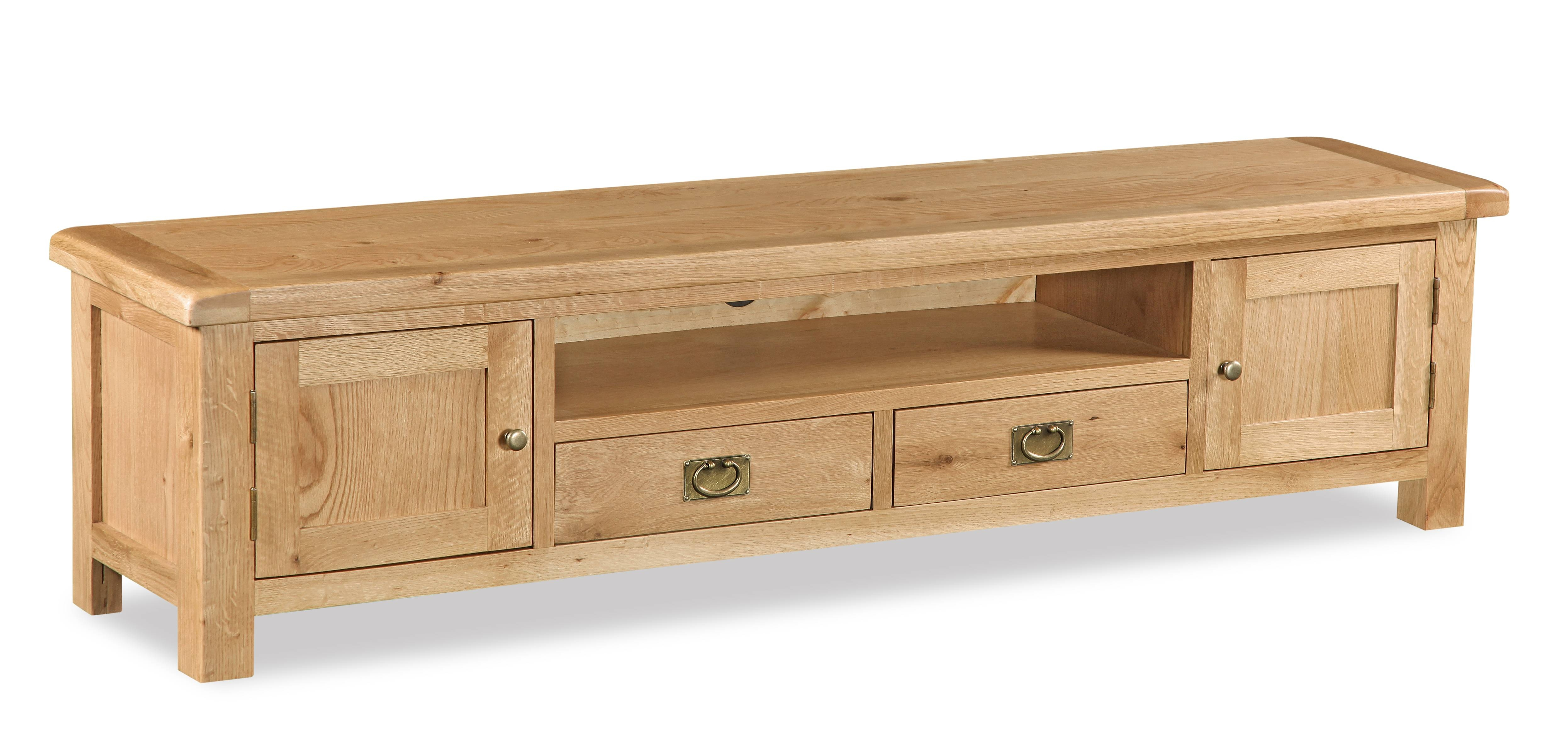 Weldon Oak Extra Wide Low Line Tv Unit – Gosforth Furniture With Low Tv Units (View 8 of 15)