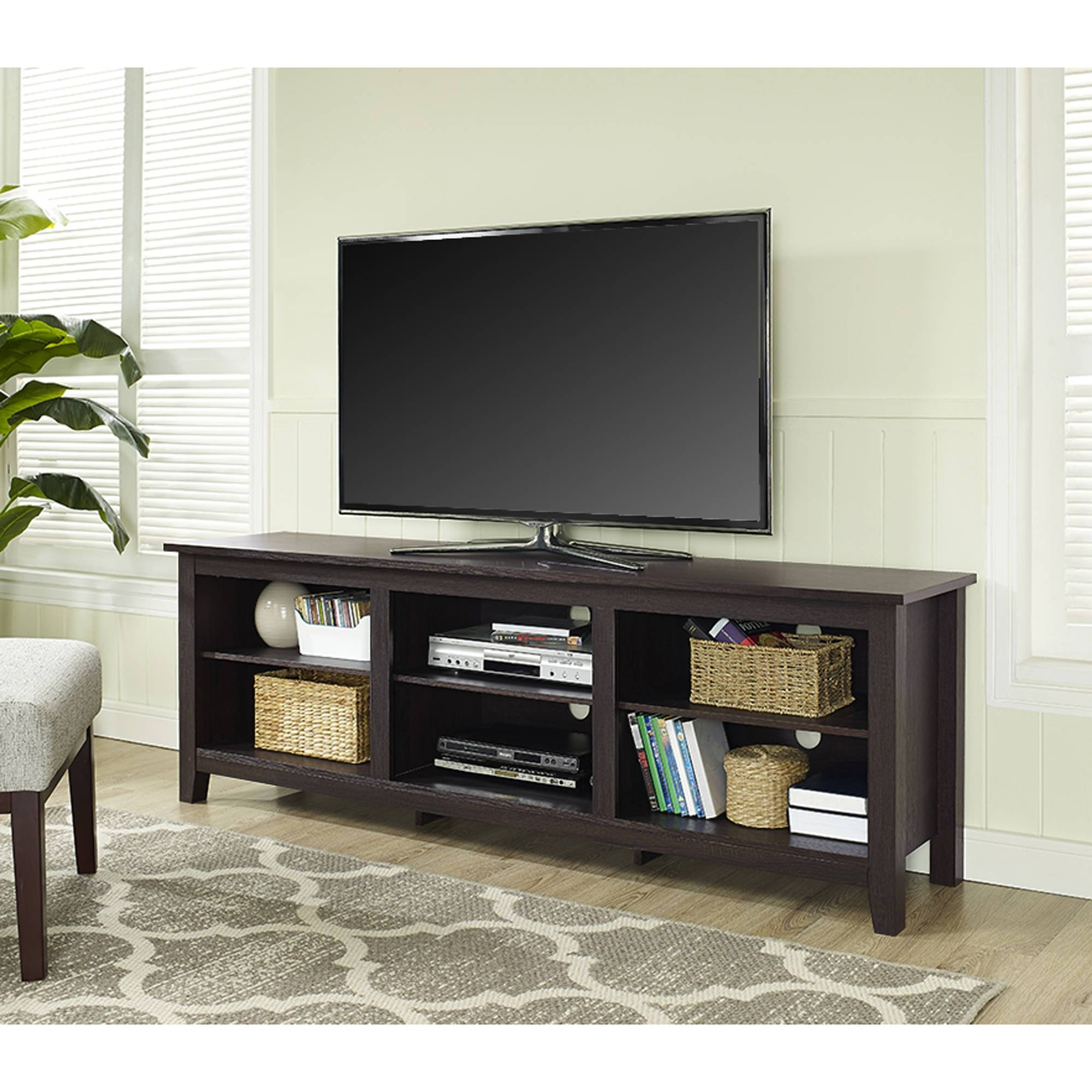"Whalen 3-In-1 Black Tv Console For Tvs Up To 70"", Black Glass with regard to 24 Inch Tall Tv Stands (Image 15 of 15)"