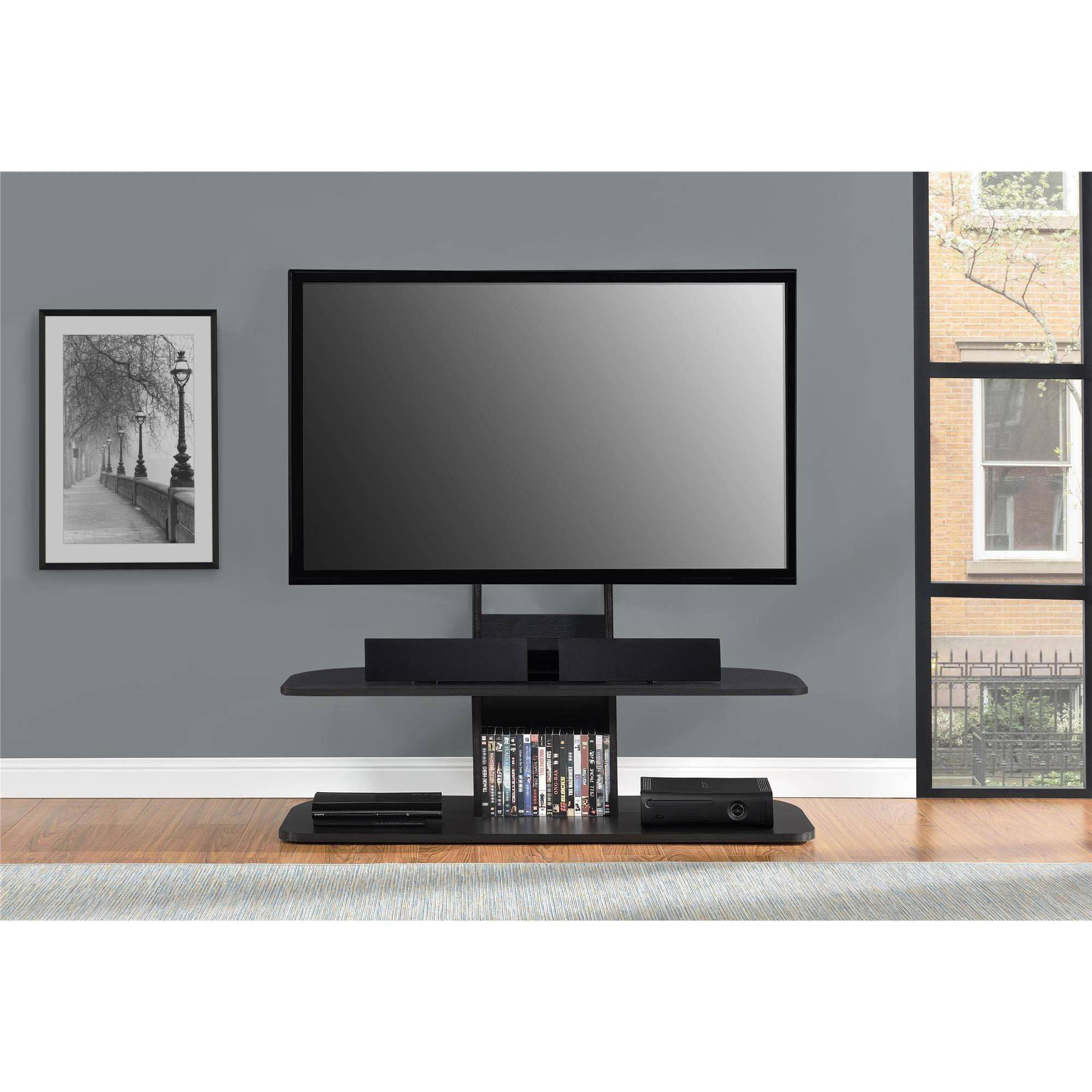 "Whalen 3-In-1 Black Tv Console For Tvs Up To 70"", Black Glass within Tv Stands For 70 Inch Tvs (Image 15 of 15)"