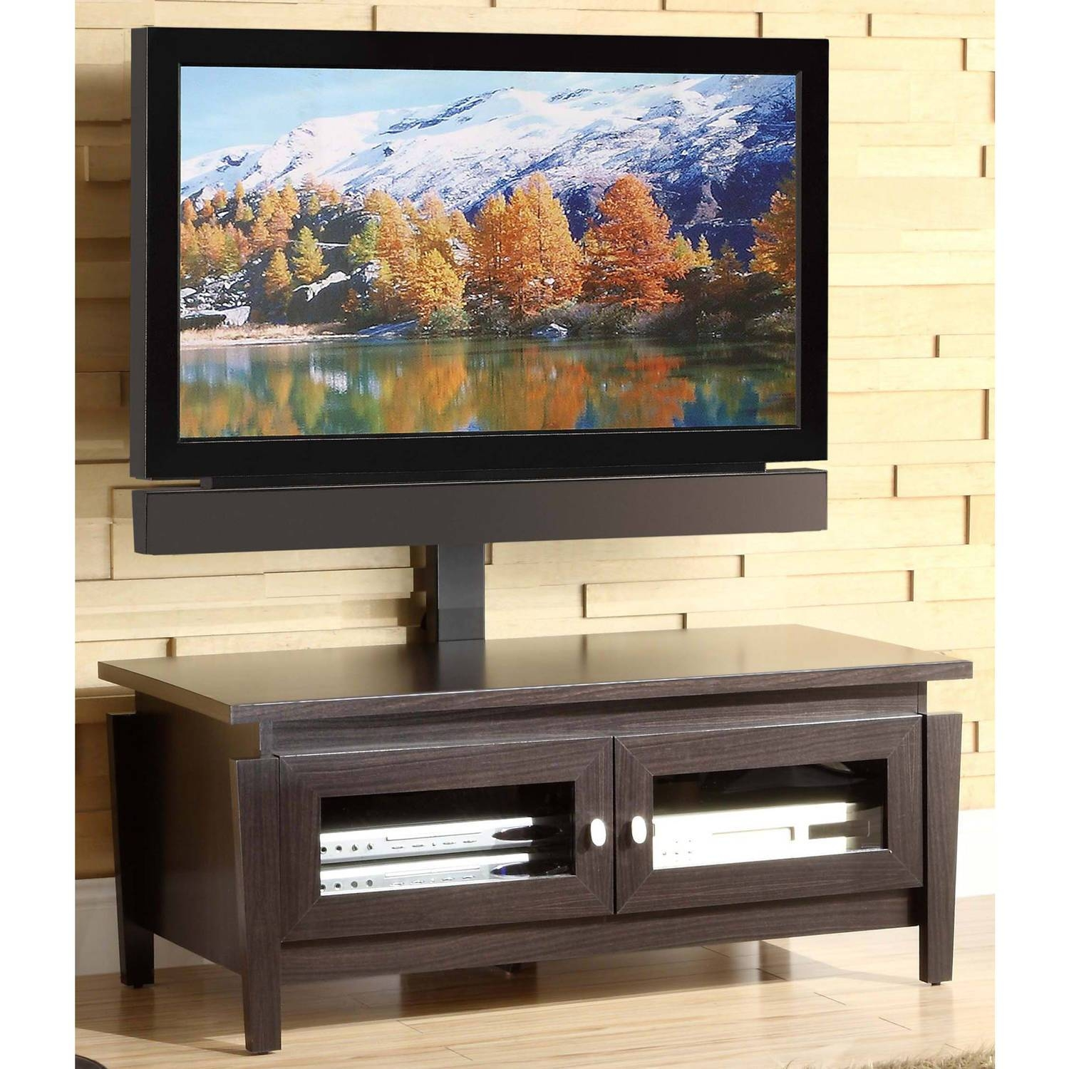Whalen 3-Tier Cherry Brown Flat Panel Tv Stand For Tvs Up To 50 inside Tv Stands Swivel Mount (Image 13 of 15)