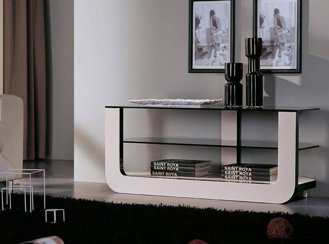 White Acrylic Tv Stand With Black Glass Top And Shelves On The with Acrylic Tv Stands (Image 15 of 15)