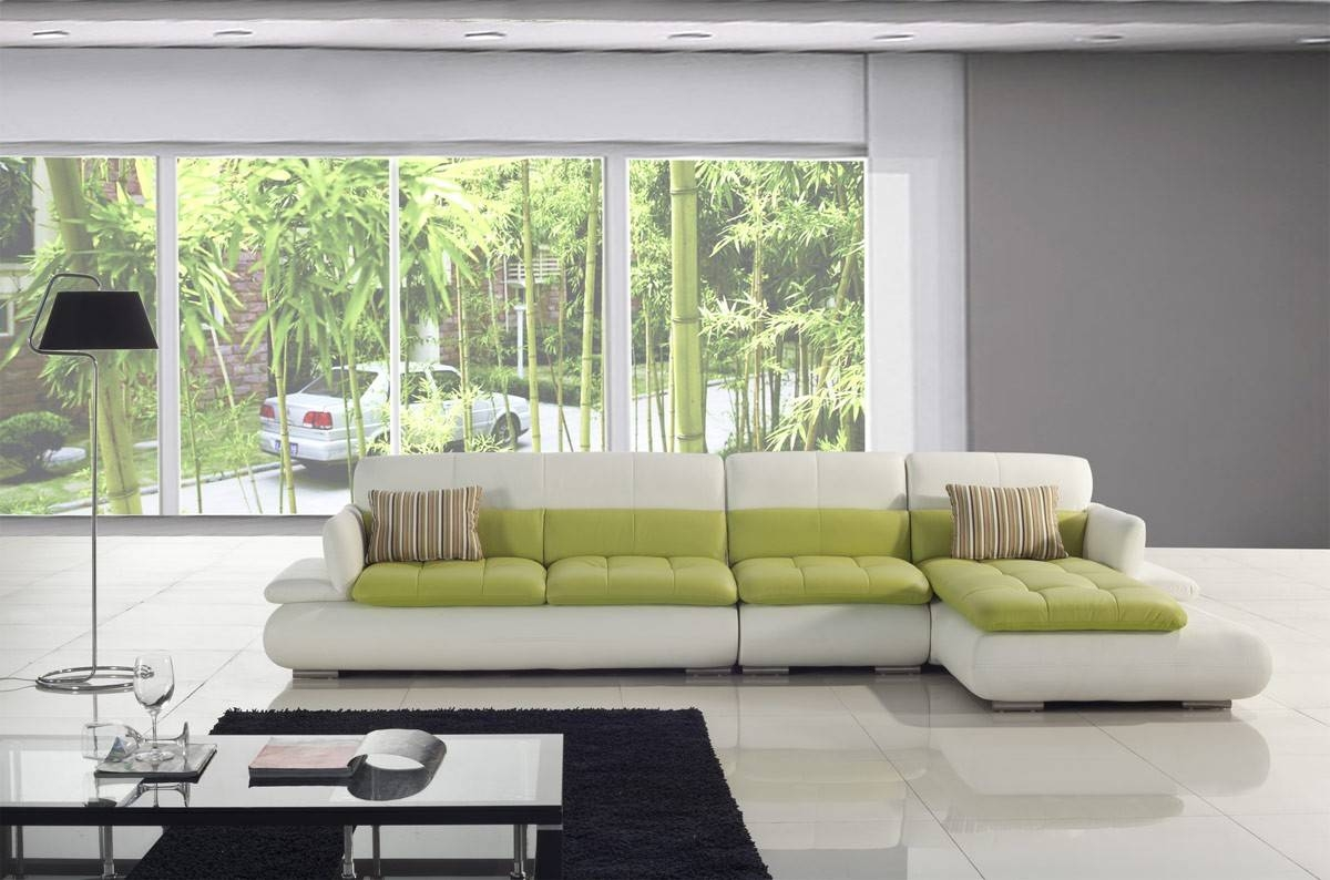 White And Green Leather Sectional Sofa for Green Leather Sectional Sofas (Image 15 of 15)