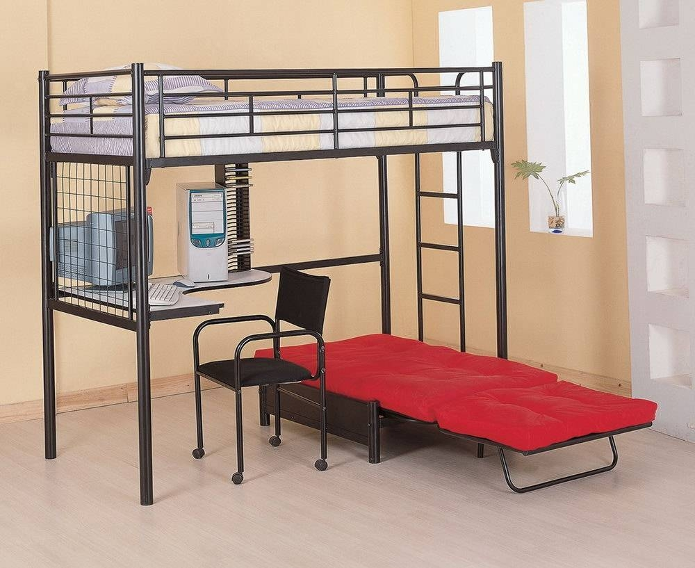 White Bunk Bed With Desk And Sofa   Home Design Ideas With Regard To Bunk Bed With Sofas Underneath (View 10 of 15)