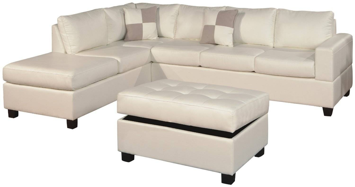 White Color Modern Tufted Leather Chaise Lounge Sofa Bed With within Small Scale Leather Sectional Sofas (Image 15 of 15)