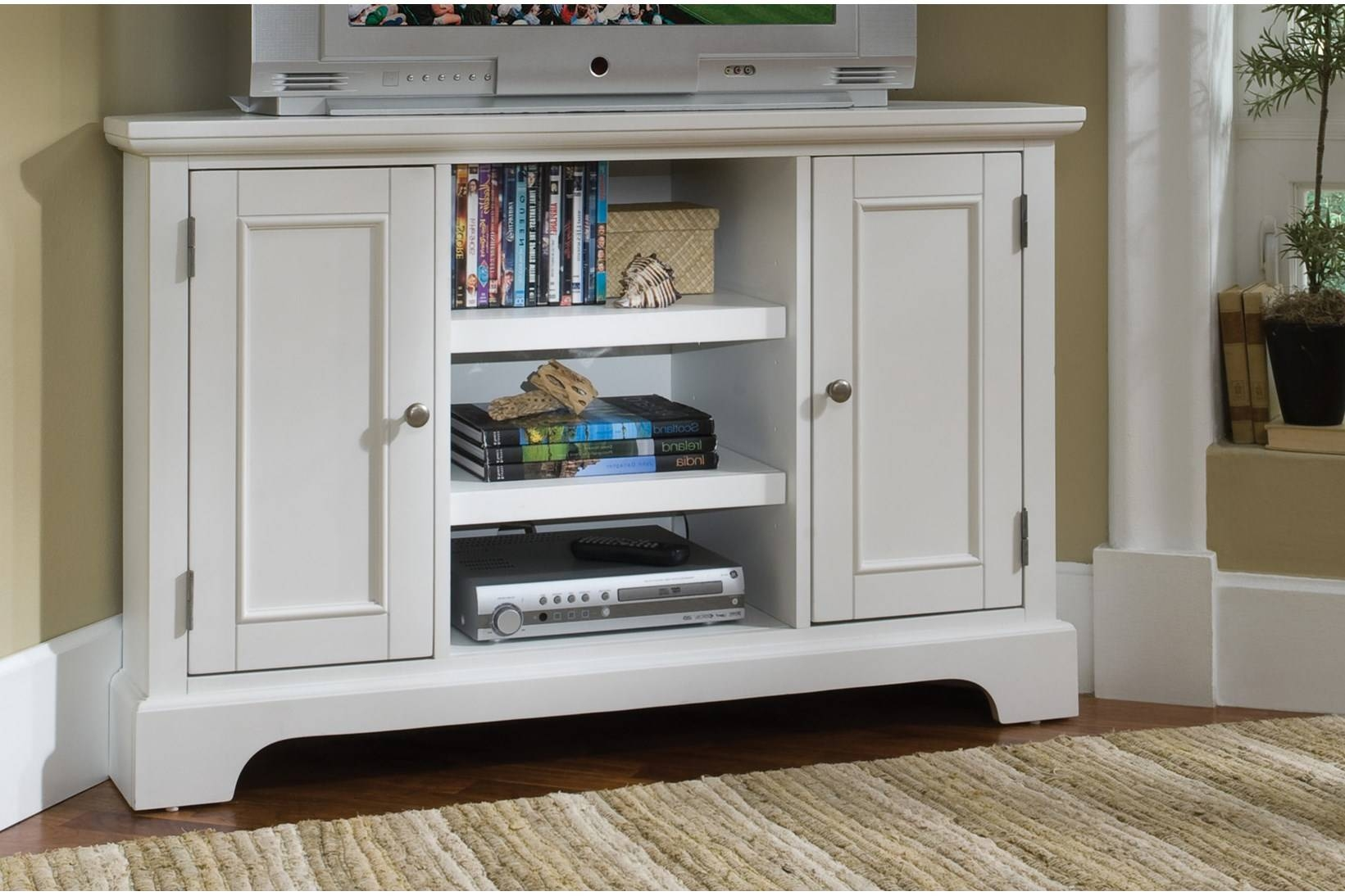 White Corner Tv Cabinet With 2 Doors On Both Sides And 3 Open inside Corner Tv Cabinets For Flat Screens With Doors (Image 14 of 15)
