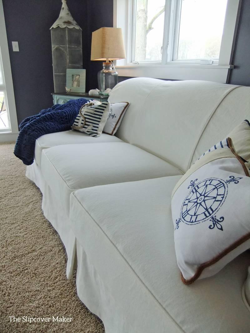 White Denim Slipcover For Art Van Scarlett Sofa | The Slipcover Maker with regard to Denim Sofa Slipcovers (Image 14 of 15)