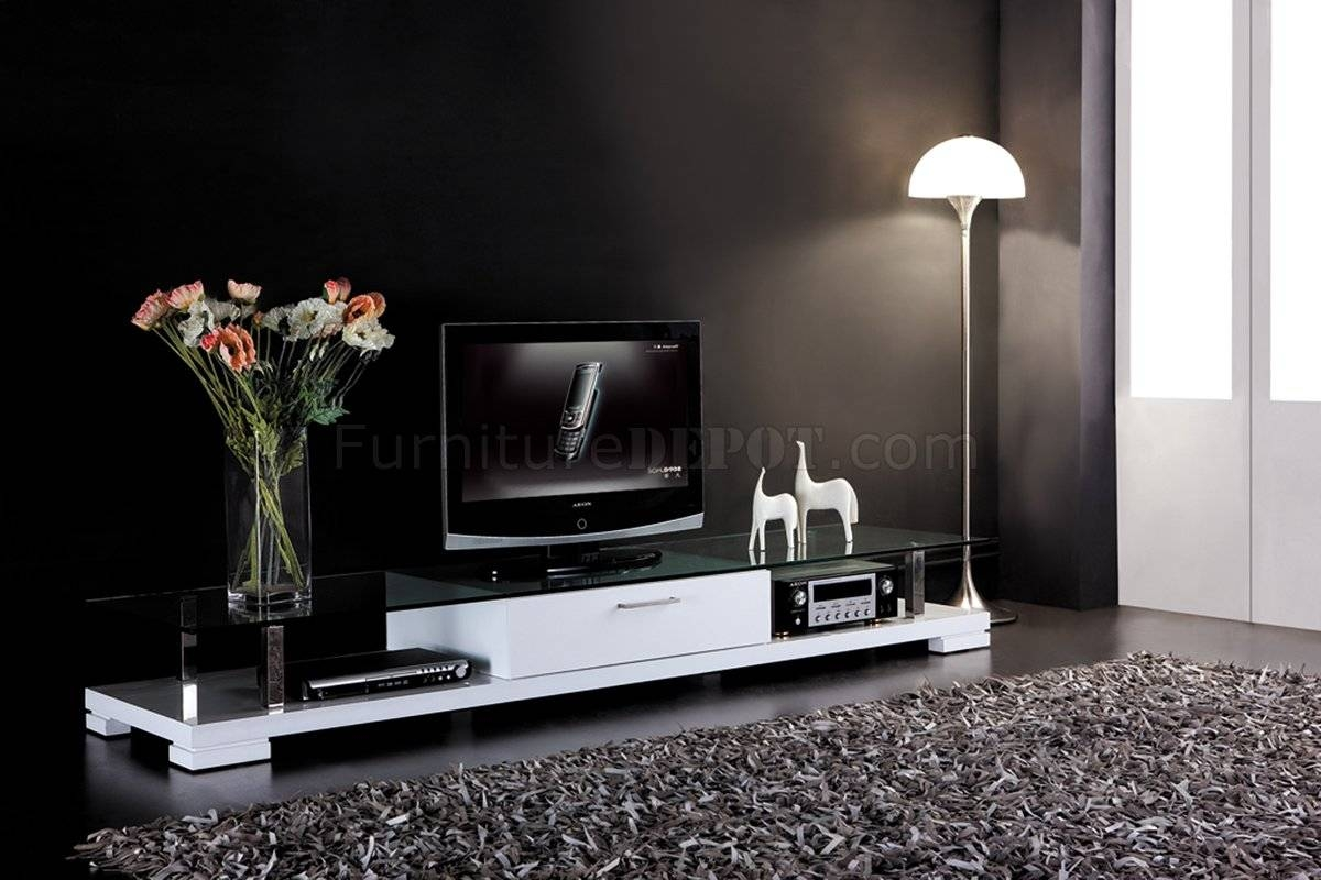 White Finish Modern Tv Stand W/drawer & Clear Glass Top Pertaining To White Modern Tv Stands (View 5 of 15)