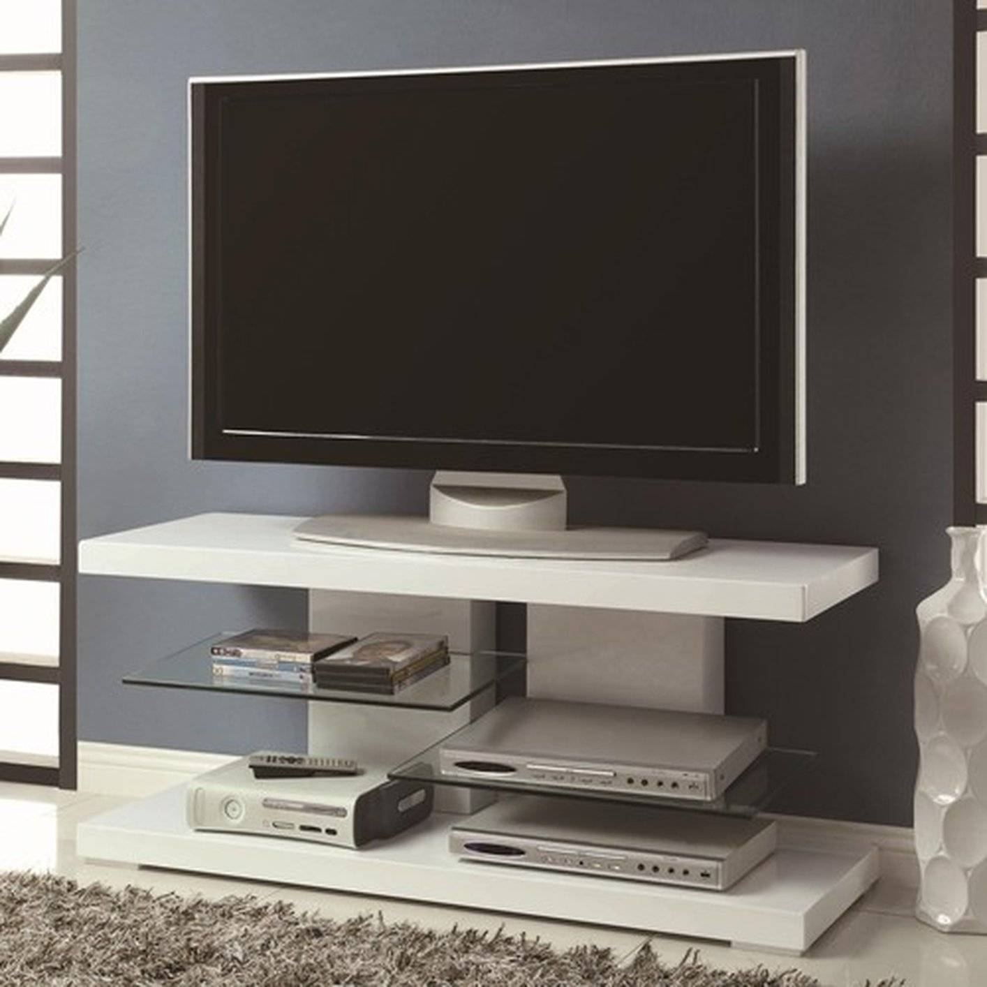White Glass Tv Stand - Steal-A-Sofa Furniture Outlet Los Angeles Ca in Modern Glass Tv Stands (Image 13 of 15)