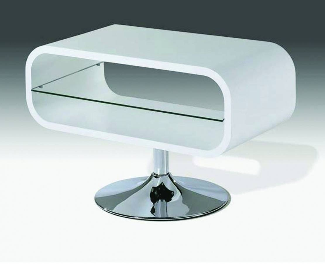 White High Gloss Tv Unit Stand With Glass Shelf - Homegenies intended for White Gloss Oval Tv Stands (Image 15 of 15)
