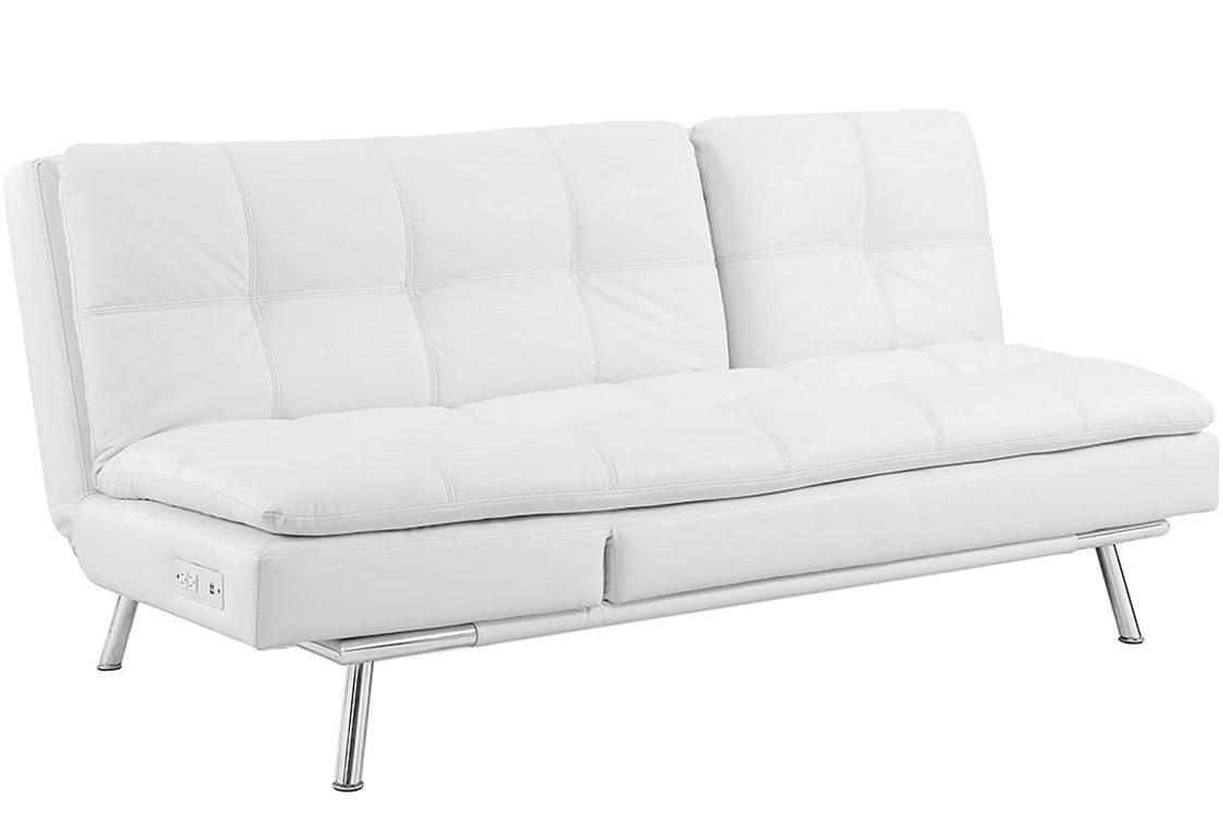 White Leather Futon Sofa Bed | Palermo Serta Euro Lounger | The with regard to Euro Sofa Beds (Image 15 of 15)