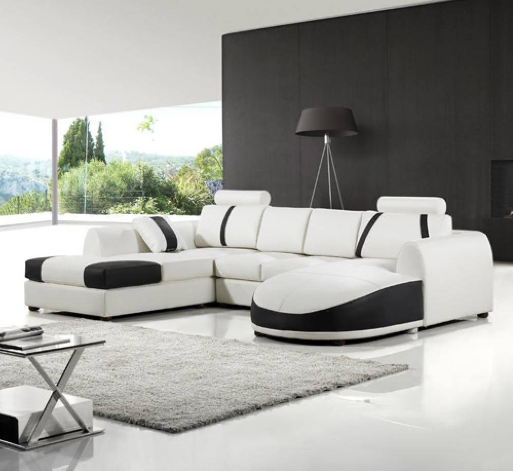 White Leather Sofa For Elegant Living Room - Traba Homes for Black and White Leather Sofas (Image 15 of 15)