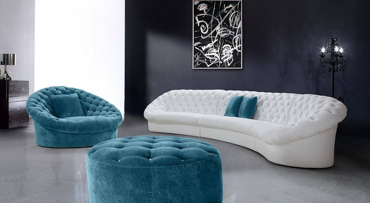 White Modern Leather Sectional Sofa With Ottoman Table Dark Blue pertaining to Blue and White Sofas (Image 14 of 15)
