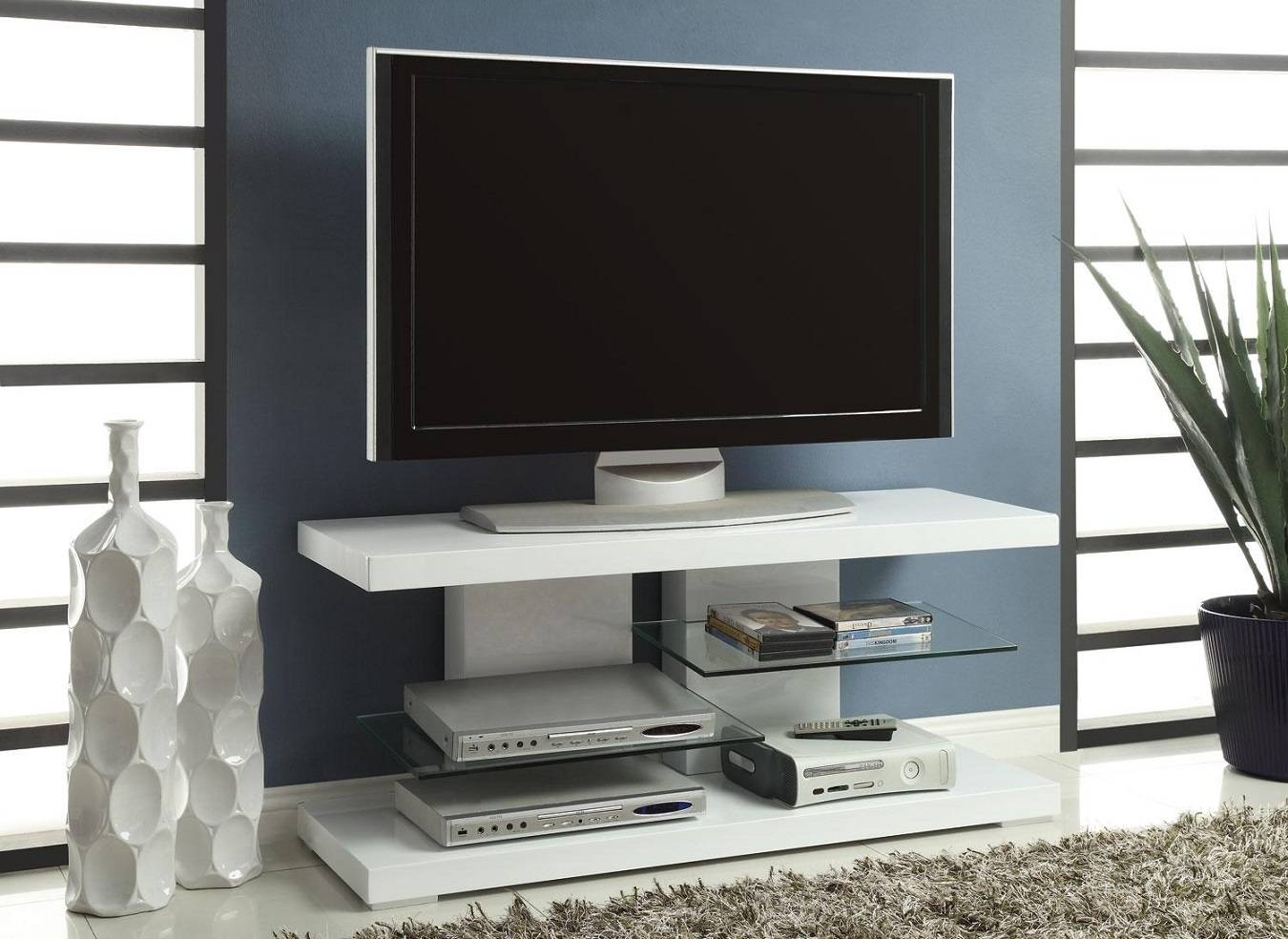 White Painted Plywood Flat Screen Tv Stand With Tempered Glass With Regard To Stylish Tv Stands (View 7 of 15)