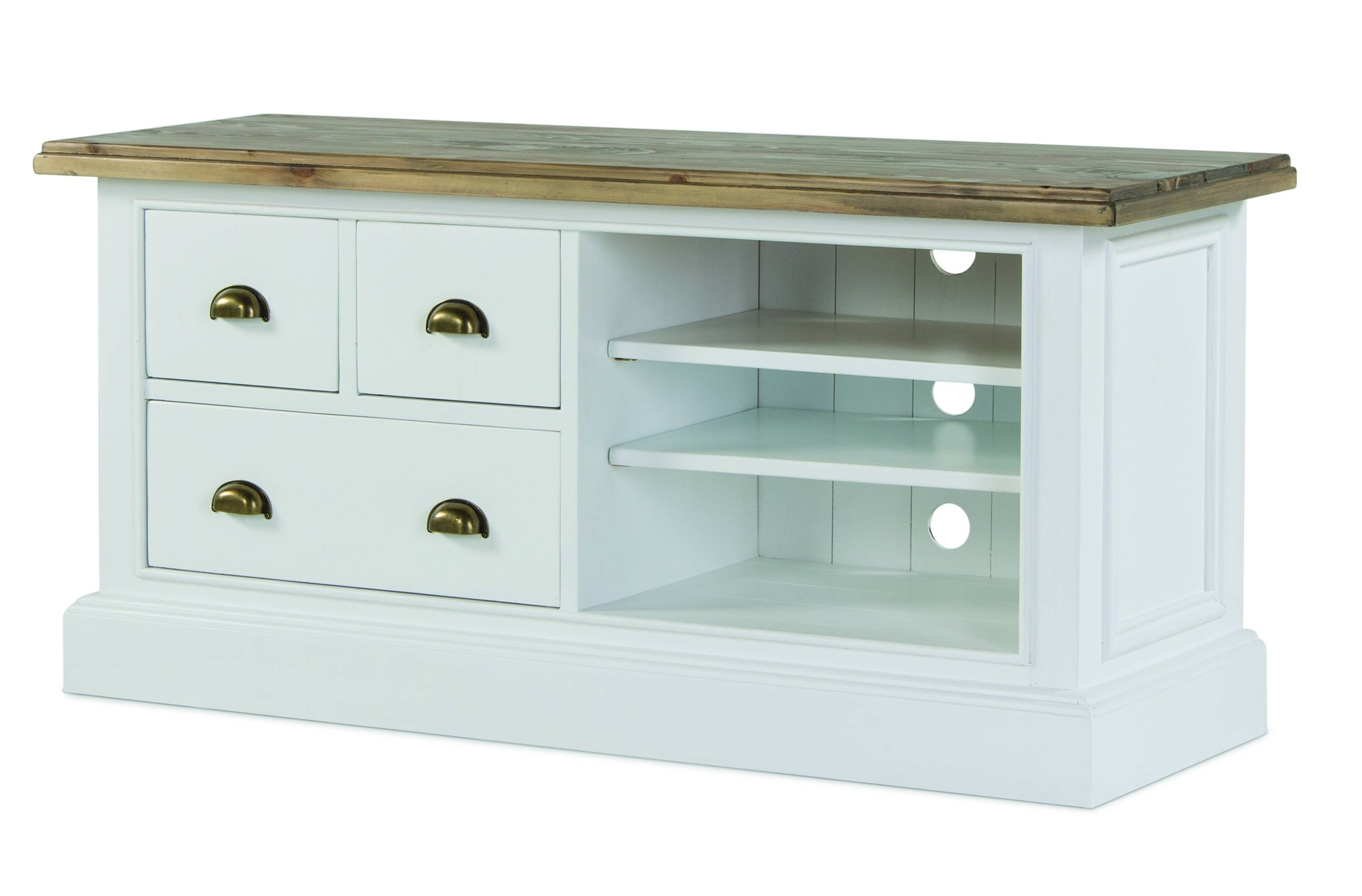 White Pine Tv Unit With Drawers - Snow White for Pine Tv Unit (Image 15 of 15)