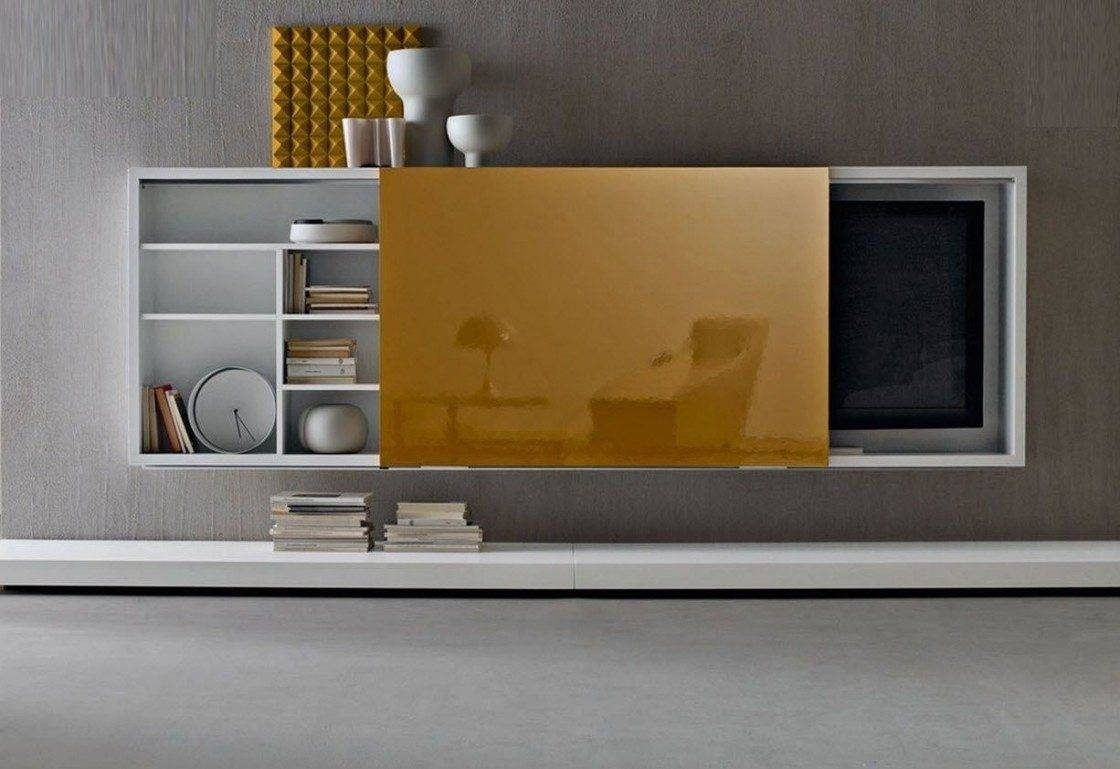 White Polished Solid Wood Wall Mounted Tv Cabinet With Racks And For Gold Tv Cabinets (View 9 of 15)