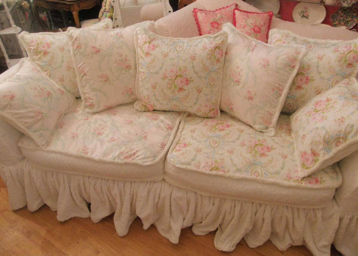 White Shabby Chic Sofa Slipcovers With Pink Floral Design | Home For Shabby Chic Sofas Covers (View 15 of 15)