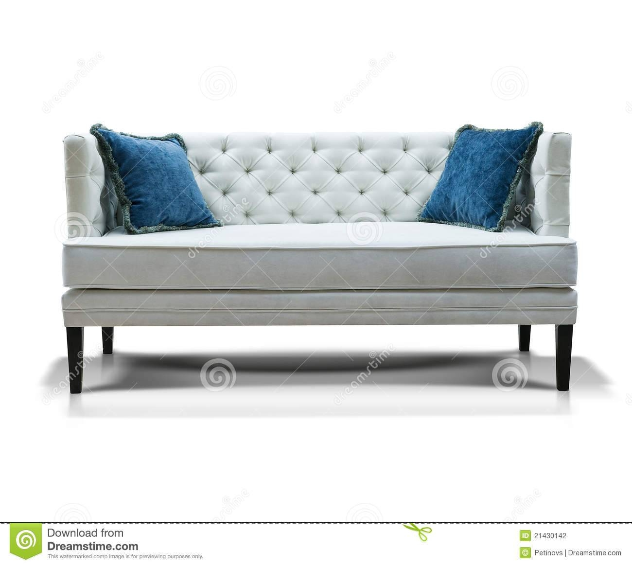 White Sofa With Two Blue Pillows Stock Photography - Image: 21430142 regarding Blue And White Sofas (Image 15 of 15)