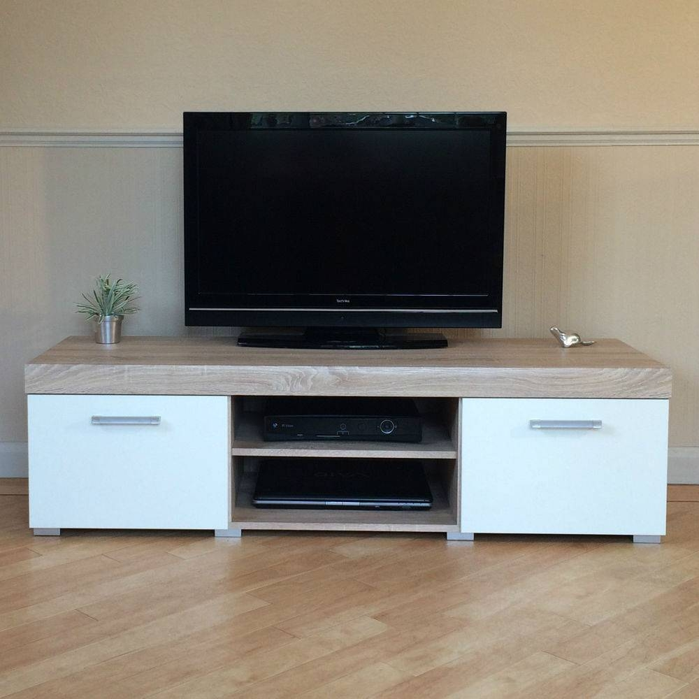 White & Sonoma Oak Effect 2 Door Tv Cabinet Plasma Low Bench Stand throughout Low Tv Units (Image 15 of 15)